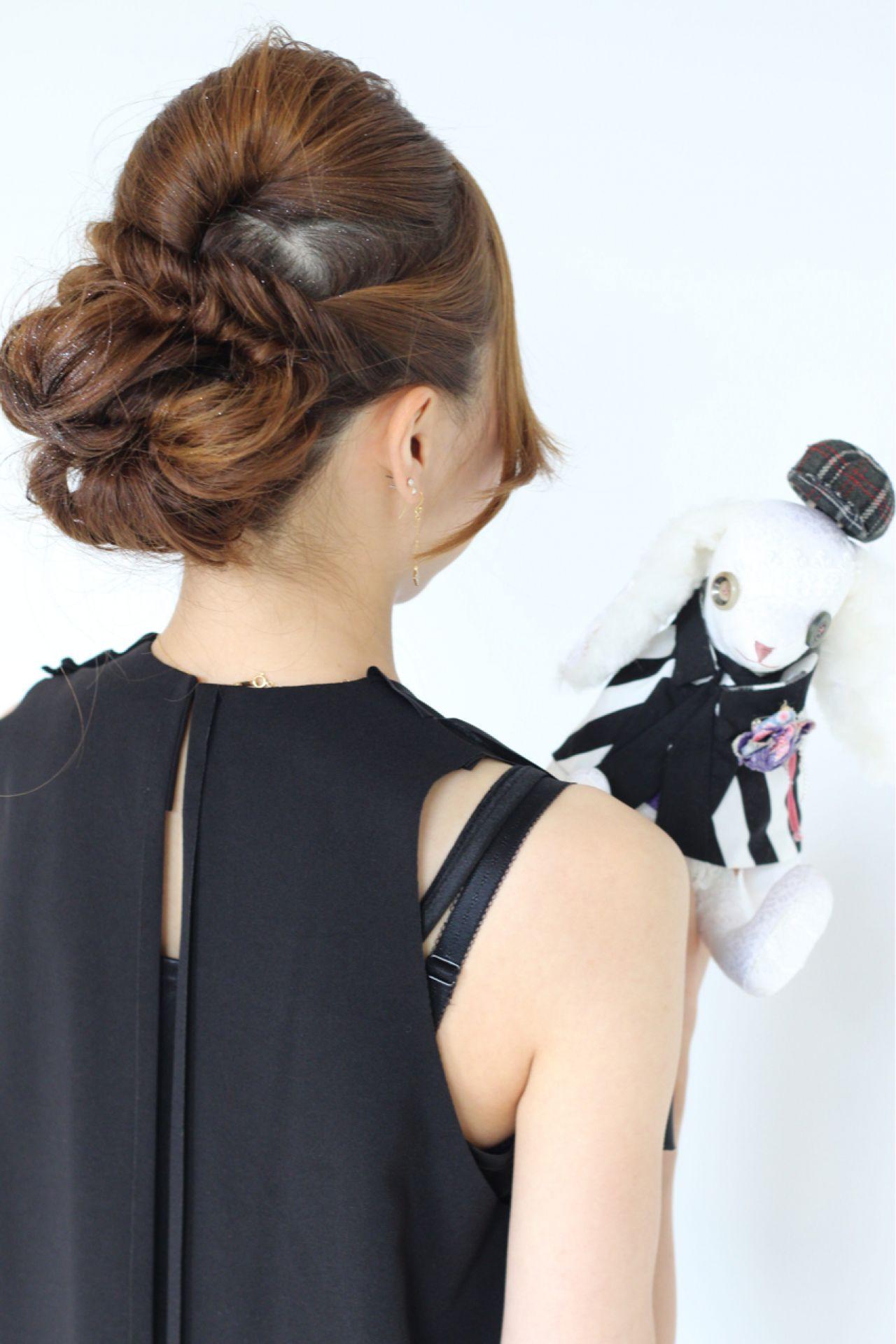 ヘアアレンジ 結婚式 大人かわいい ツイスト ヘアスタイルや髪型の写真・画像