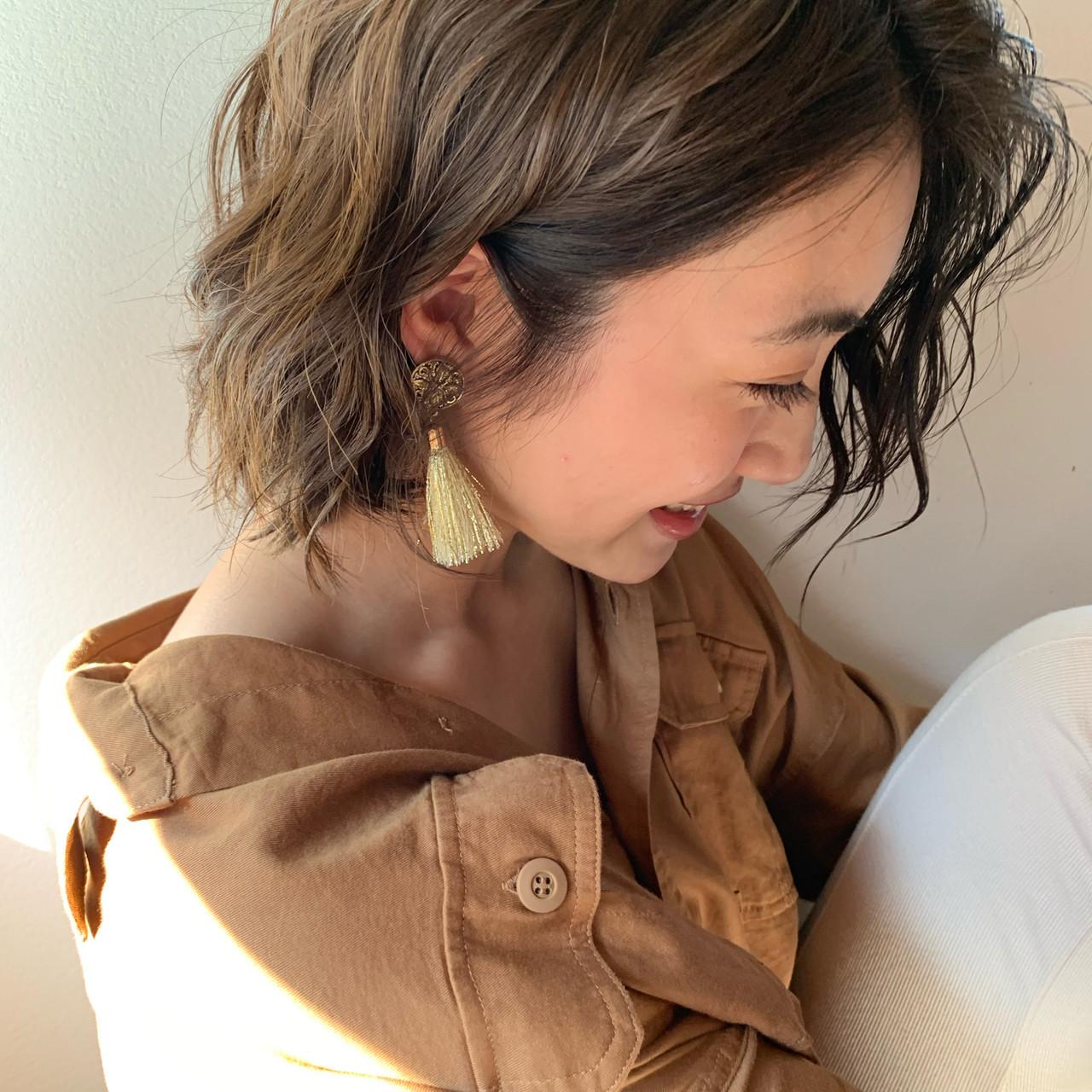 パーマ ボブ 時短 ゆるふわパーマ ヘアスタイルや髪型の写真・画像