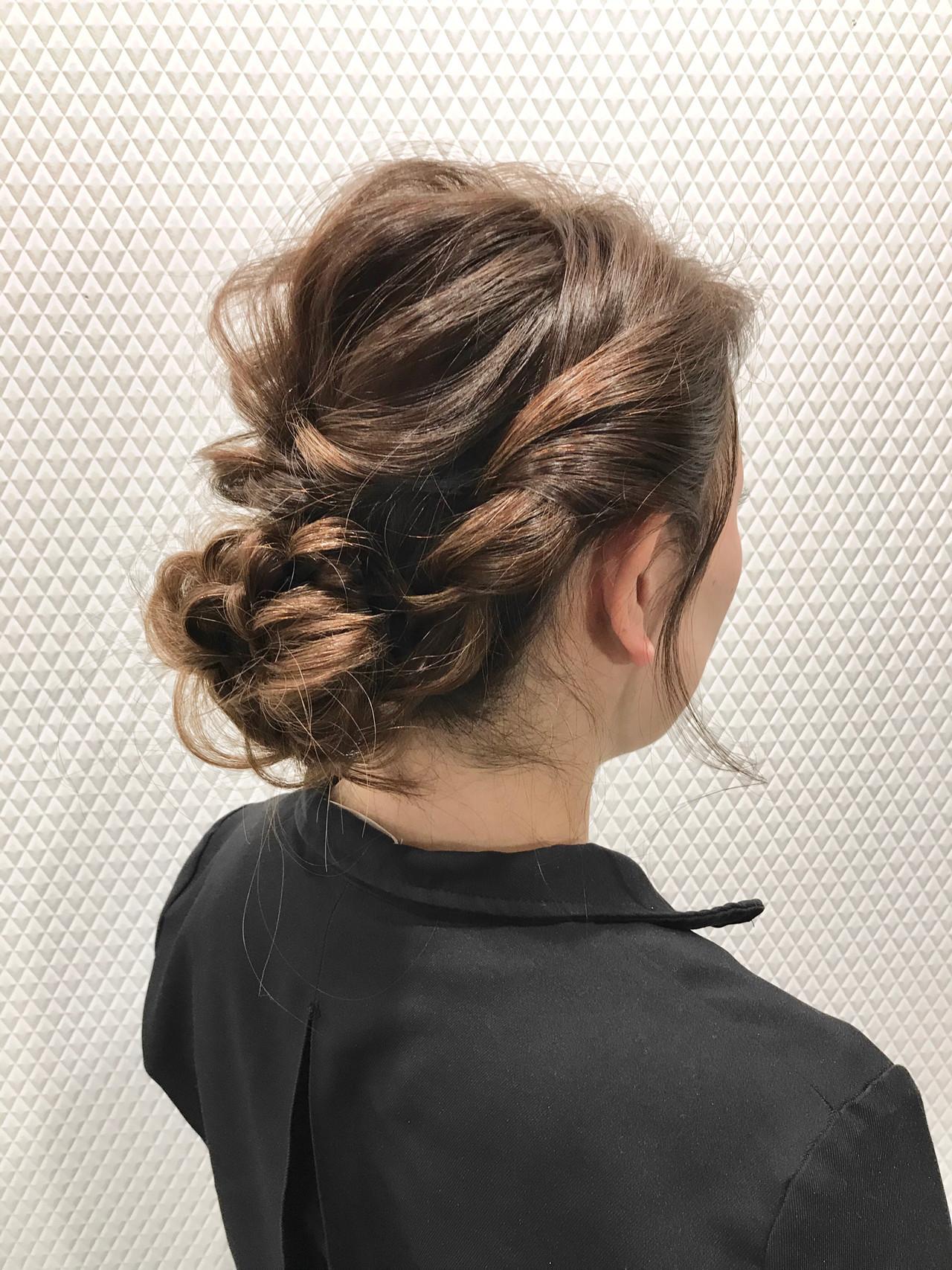 ナチュラル ふわふわヘアアレンジ ギブソンタック ヘアアレンジ ヘアスタイルや髪型の写真・画像