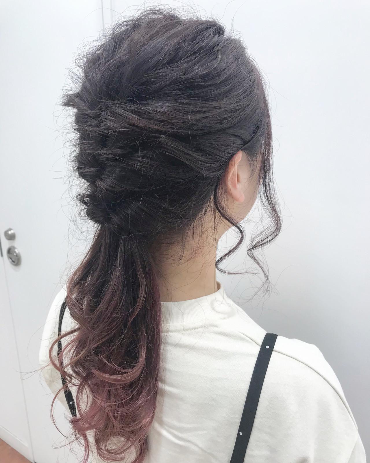 くるりんぱ ハーフアップ ロング ピンクアッシュ ヘアスタイルや髪型の写真・画像