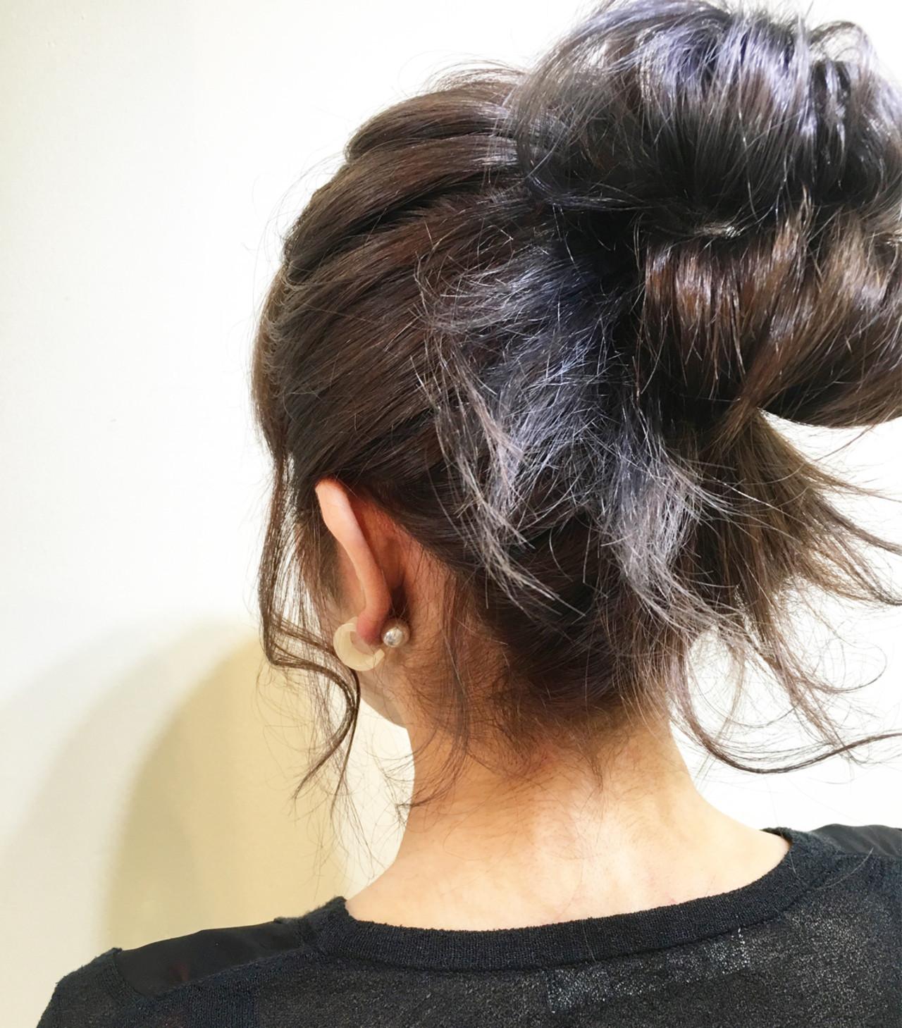 夏 ミディアム 編み込み ヘアアレンジ ヘアスタイルや髪型の写真・画像