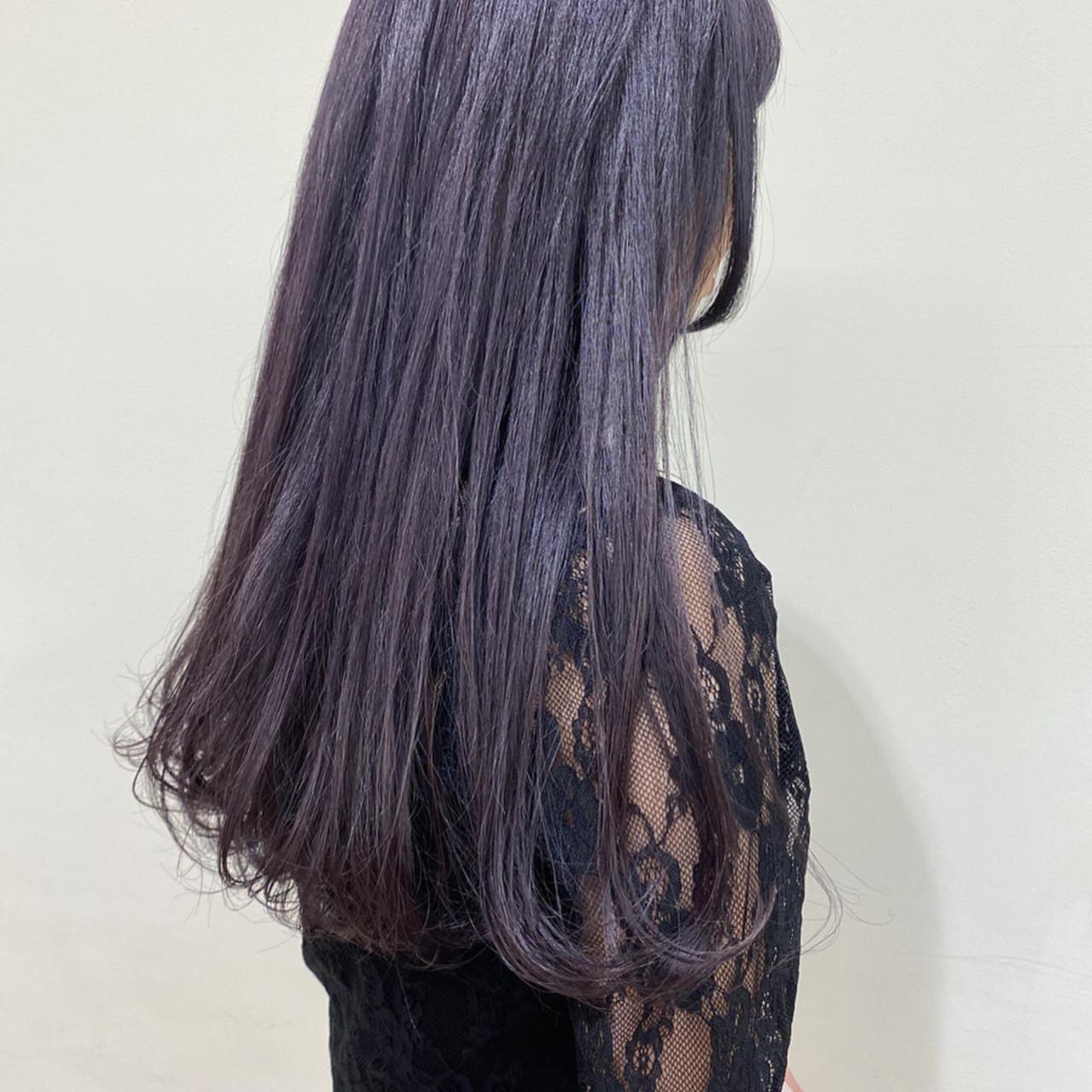 ワンカール ロング バイオレットアッシュ ガーリー ヘアスタイルや髪型の写真・画像