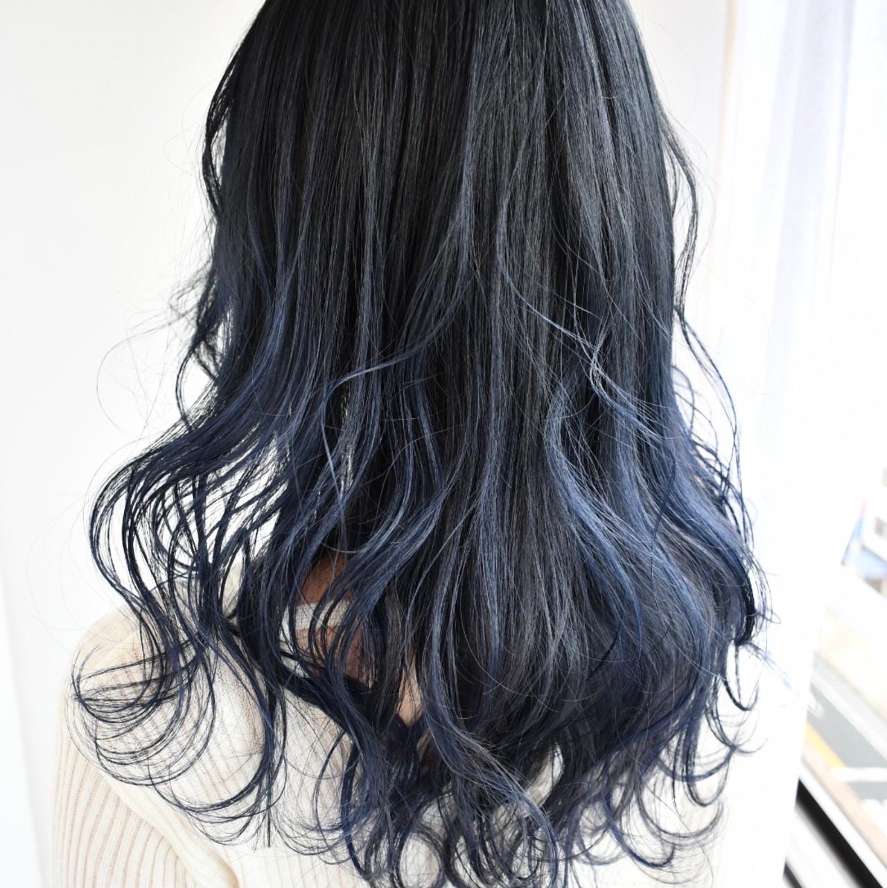 ブルージュ ブルーブラック エレガント ブルーアッシュ ヘアスタイルや髪型の写真・画像