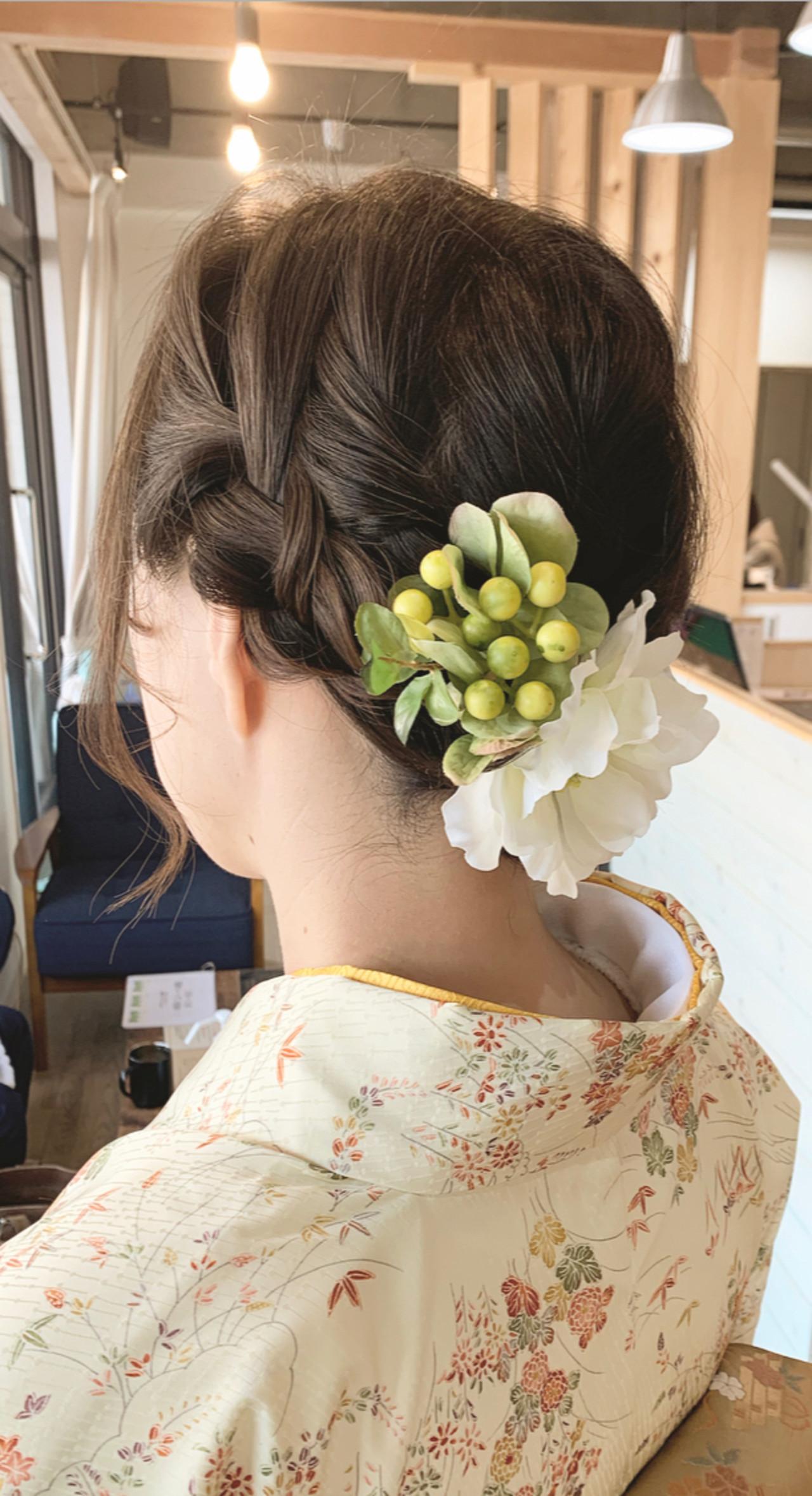 着物 ショートヘア ヘアアレンジ エレガント ヘアスタイルや髪型の写真・画像