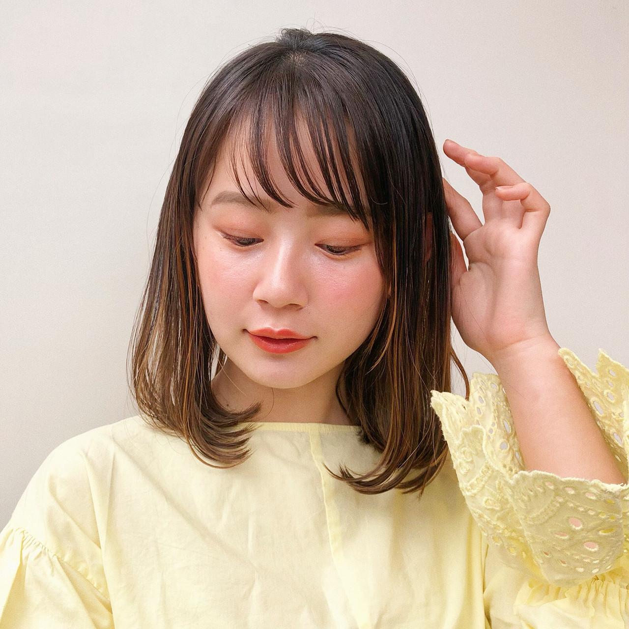 ロブ ミディアム ワンカール フェミニン ヘアスタイルや髪型の写真・画像