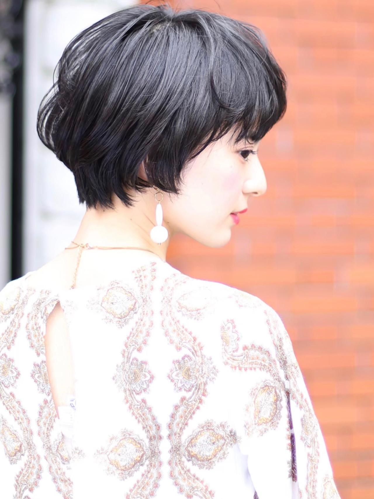 デジタルパーマ ショートボブ ショート ナチュラル ヘアスタイルや髪型の写真・画像