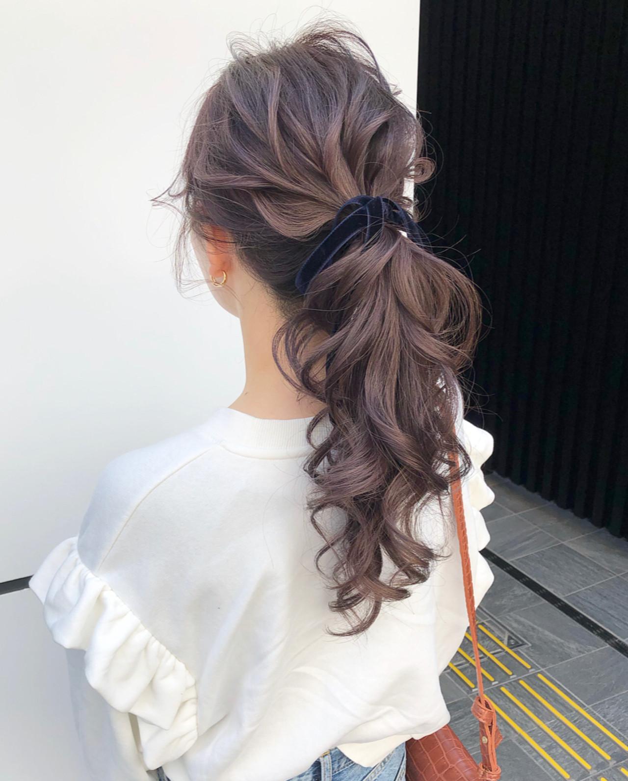 ロング ガーリー ポニーテール 大人可愛い ヘアスタイルや髪型の写真・画像