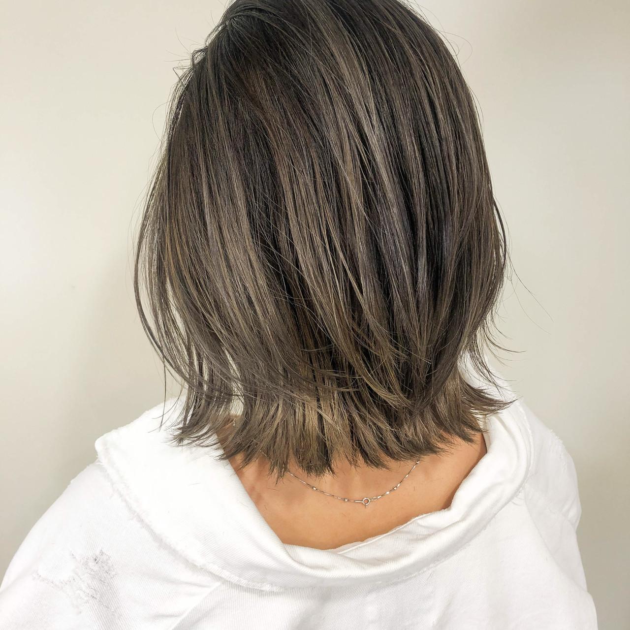 ベージュ アンニュイほつれヘア ボブ ナチュラル ヘアスタイルや髪型の写真・画像