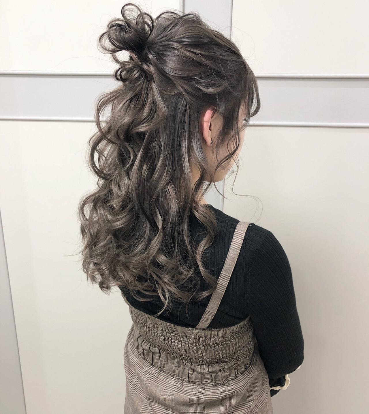 ハーフアップ シルバー ガーリー ロング ヘアスタイルや髪型の写真・画像