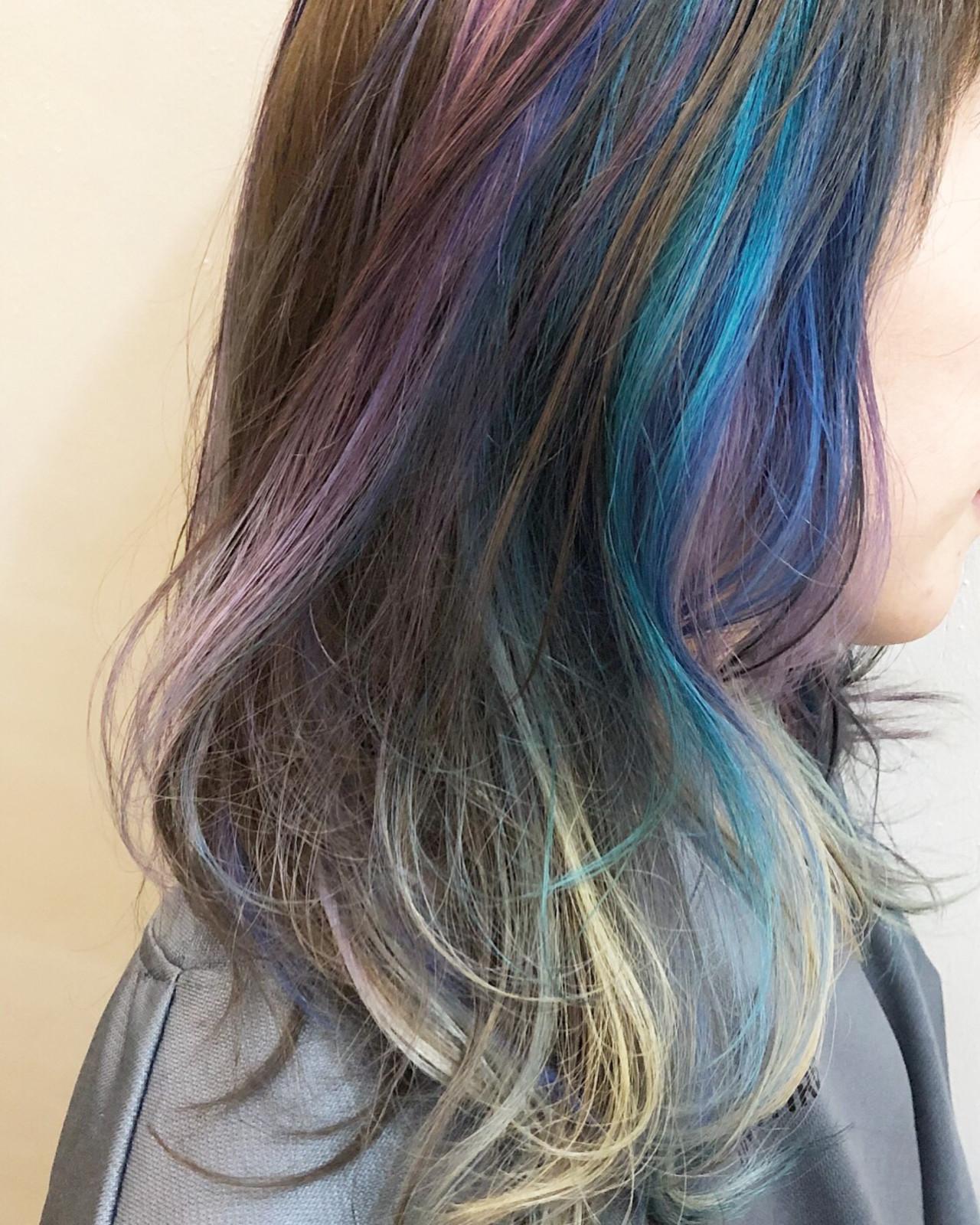 ミディアム バレイヤージュ グラデーションカラー ユニコーンカラー ヘアスタイルや髪型の写真・画像