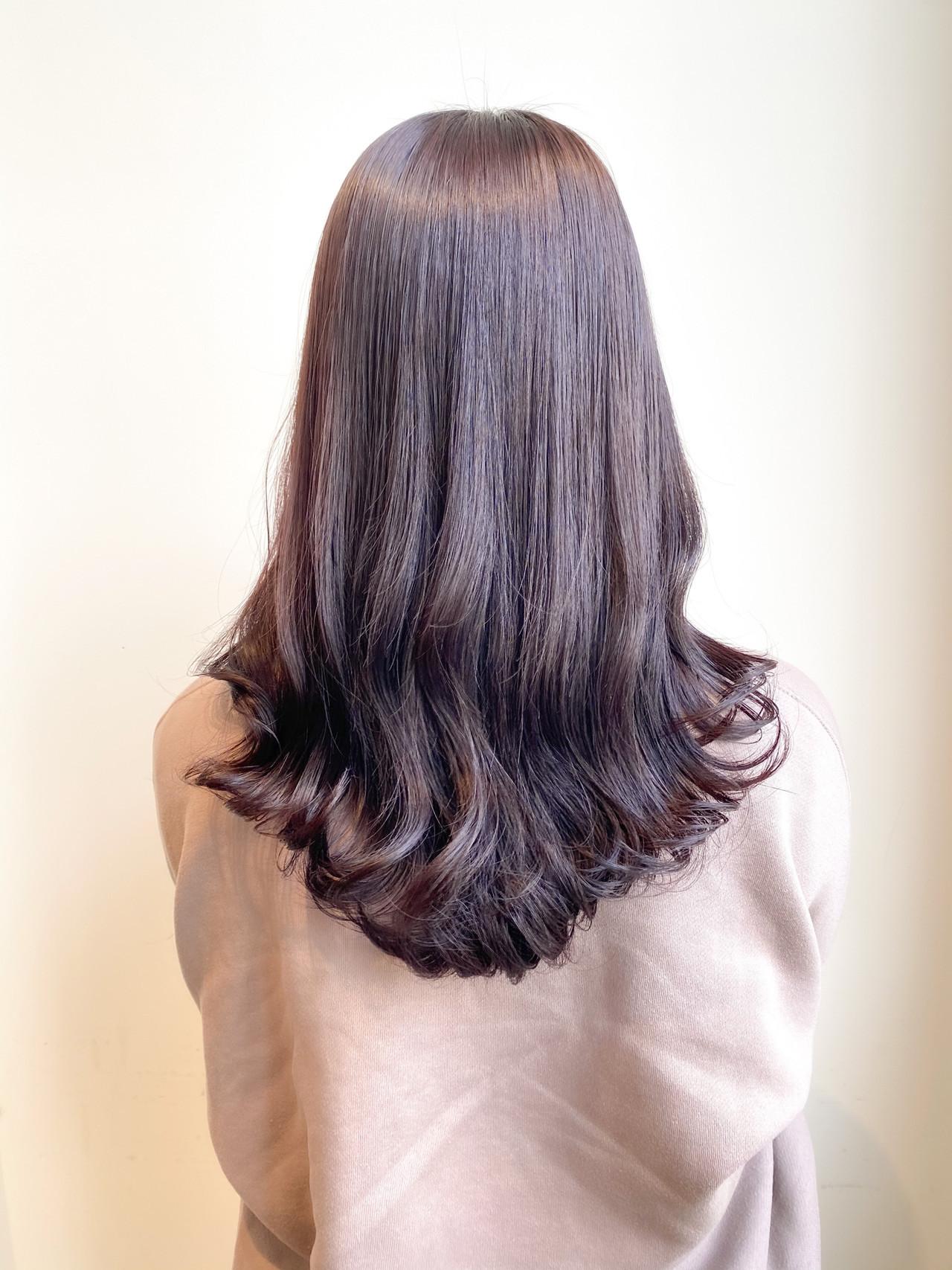 春色 セミロング ピンクラベンダー ブリーチなし ヘアスタイルや髪型の写真・画像
