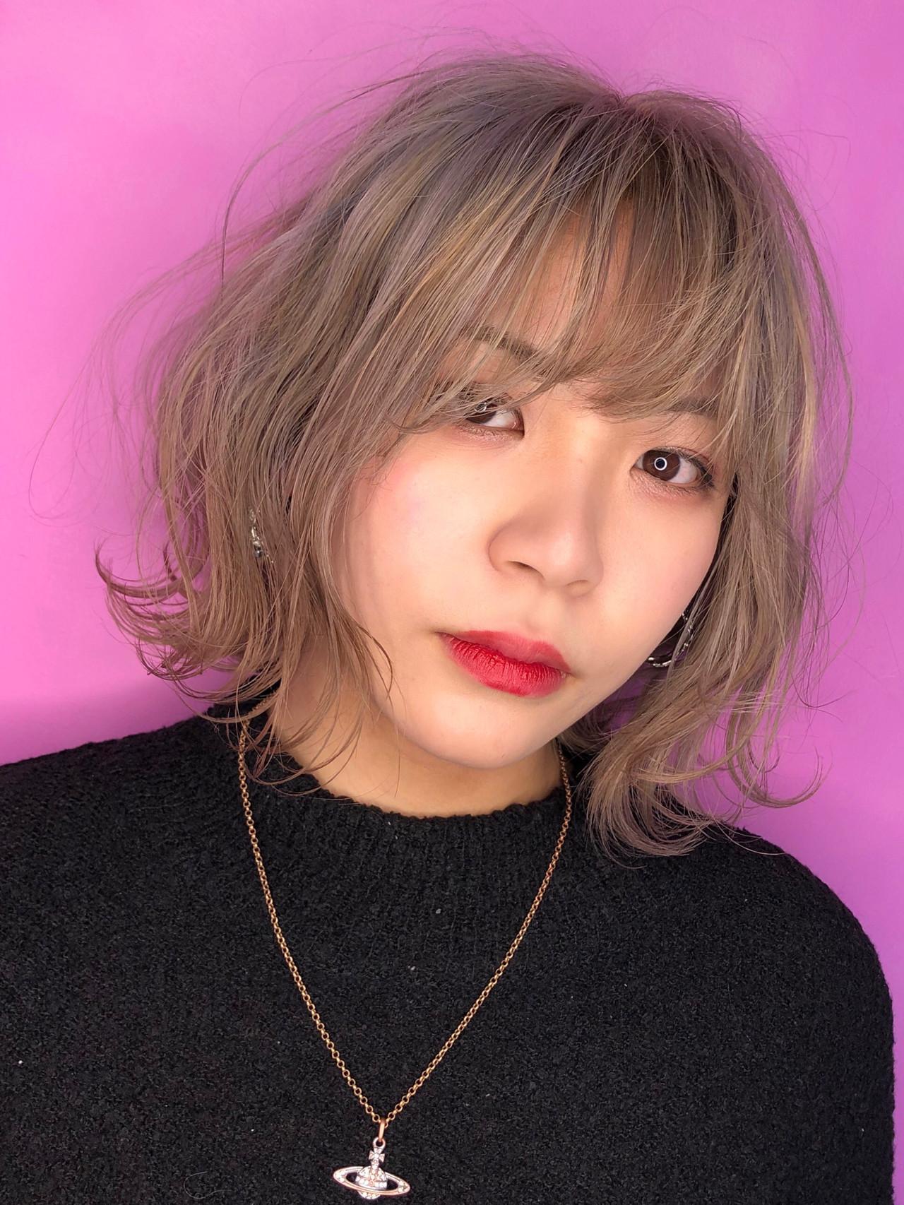 ハイトーン 金髪 ガーリー ハイトーンボブ ヘアスタイルや髪型の写真・画像