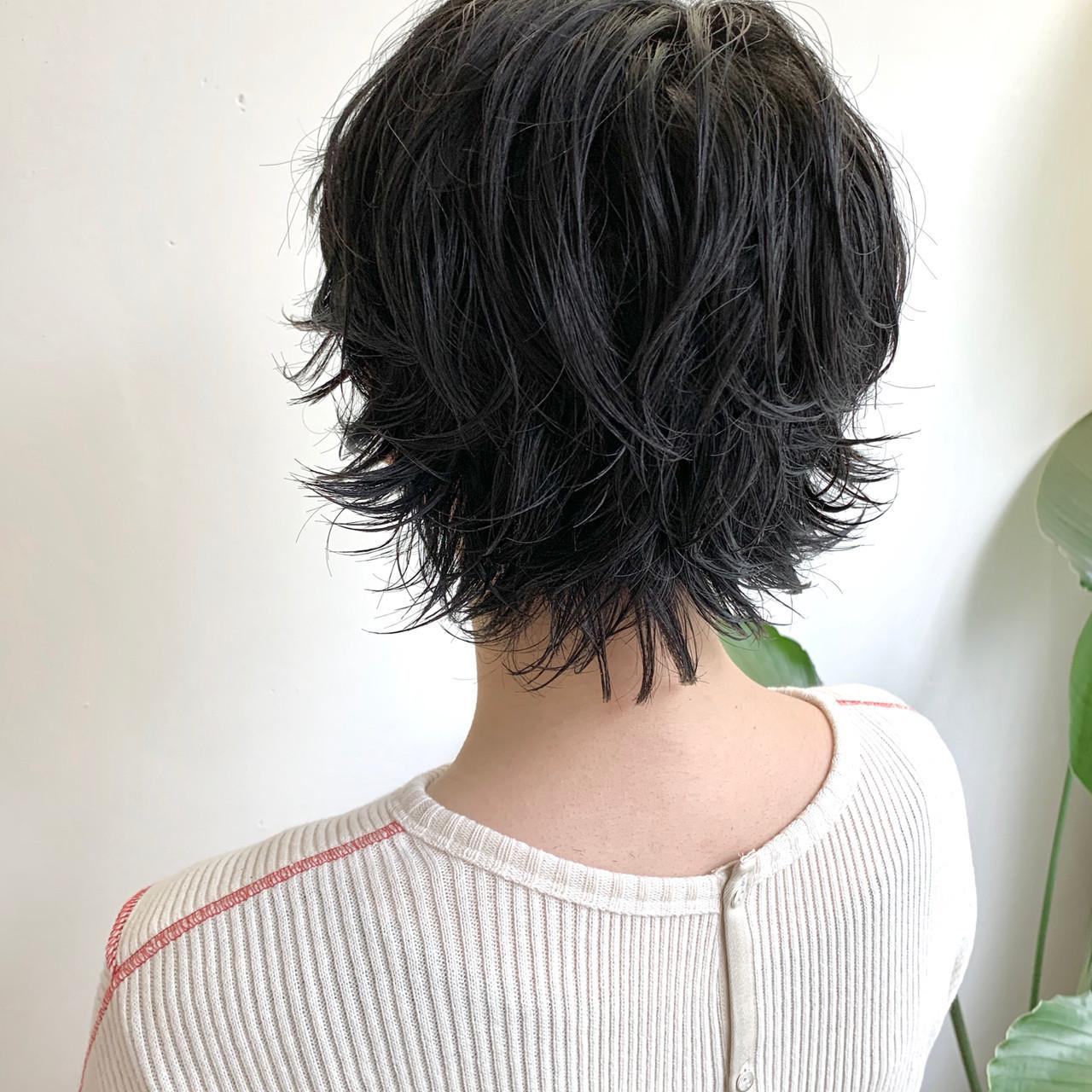 無造作パーマ パーマ ショート フェミニン ヘアスタイルや髪型の写真・画像