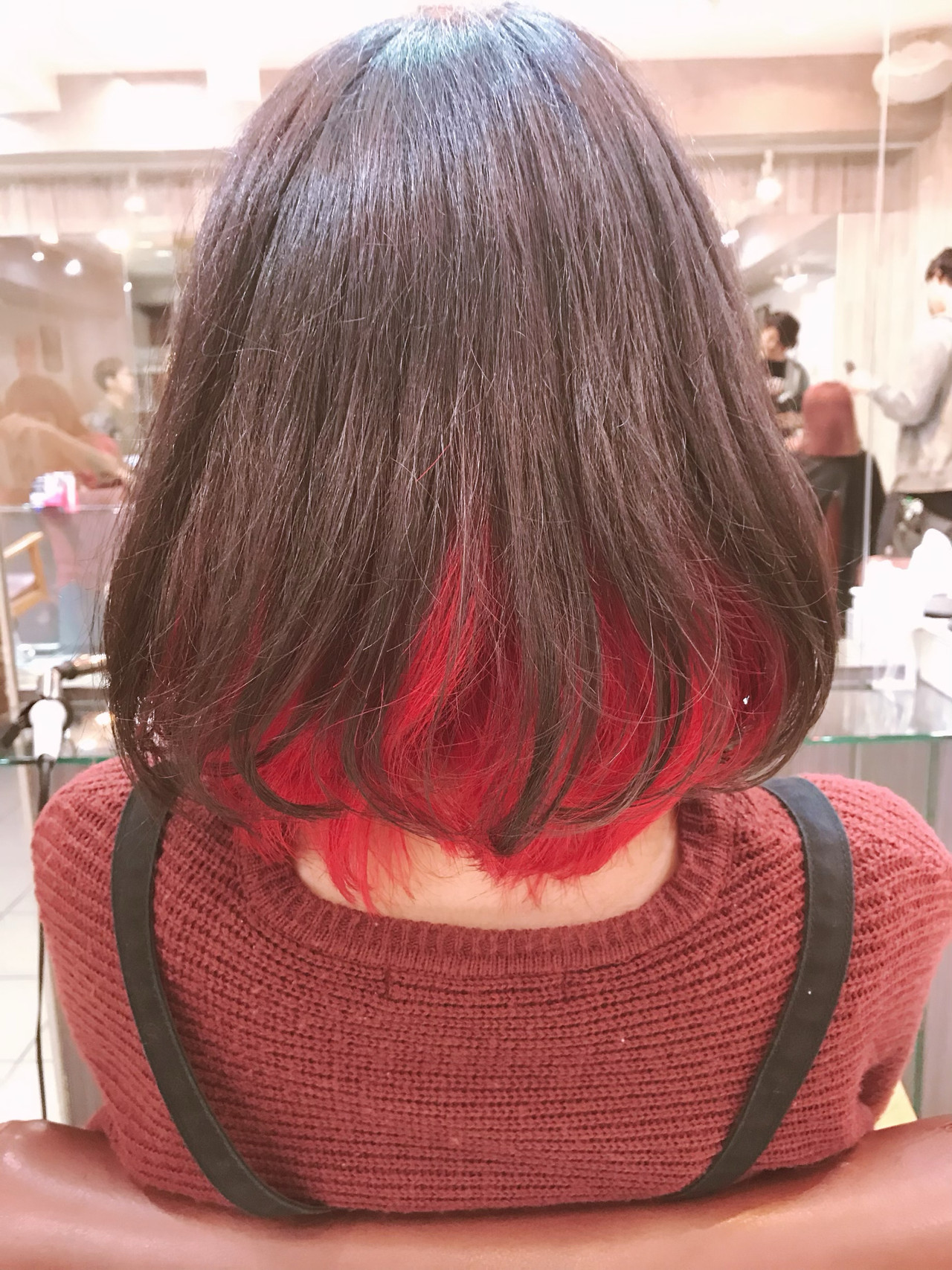 インナーカラー ダブルカラー レッド インナーカラーレッド ヘアスタイルや髪型の写真・画像