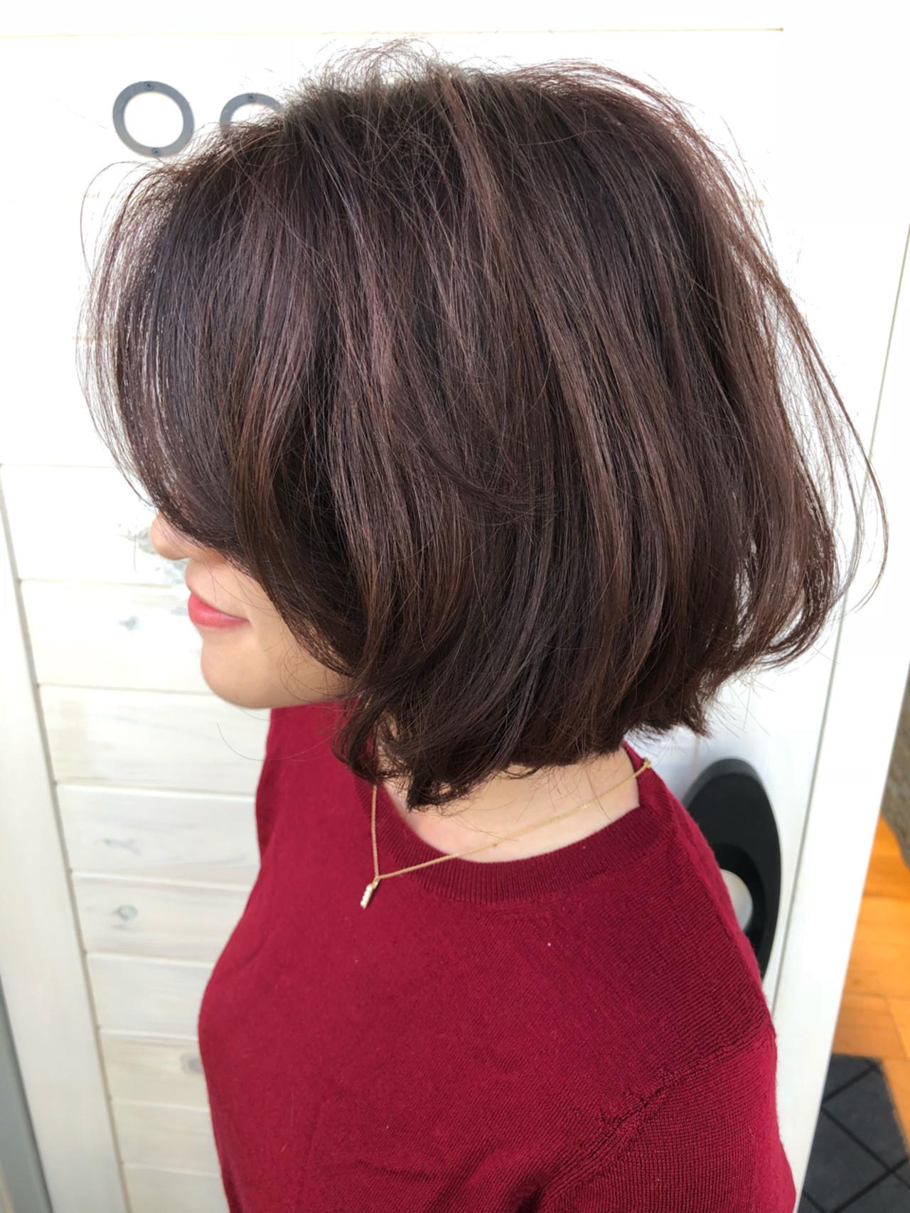 ウェーブ ボブ ワンレングス 切りっぱなし ヘアスタイルや髪型の写真・画像