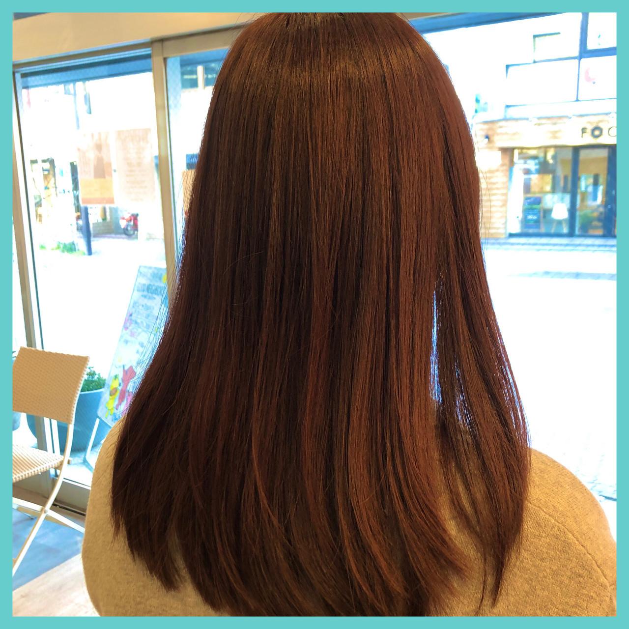 オーガニックカラー アプリコットオレンジ オレンジブラウン セミロング ヘアスタイルや髪型の写真・画像