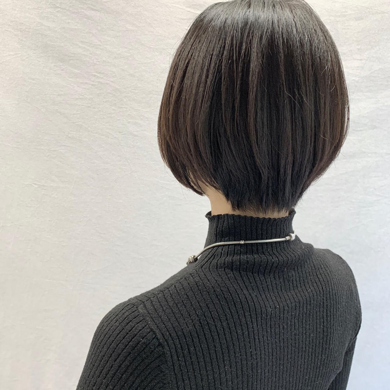 ブラウンベージュ ナチュラル ショートヘア ボブ ヘアスタイルや髪型の写真・画像