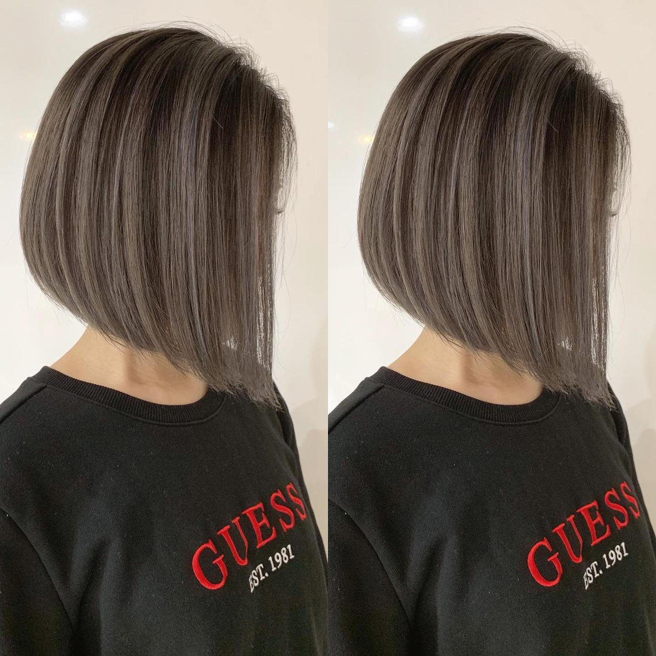 ベリーショート バレイヤージュ ショートボブ インナーカラー ヘアスタイルや髪型の写真・画像