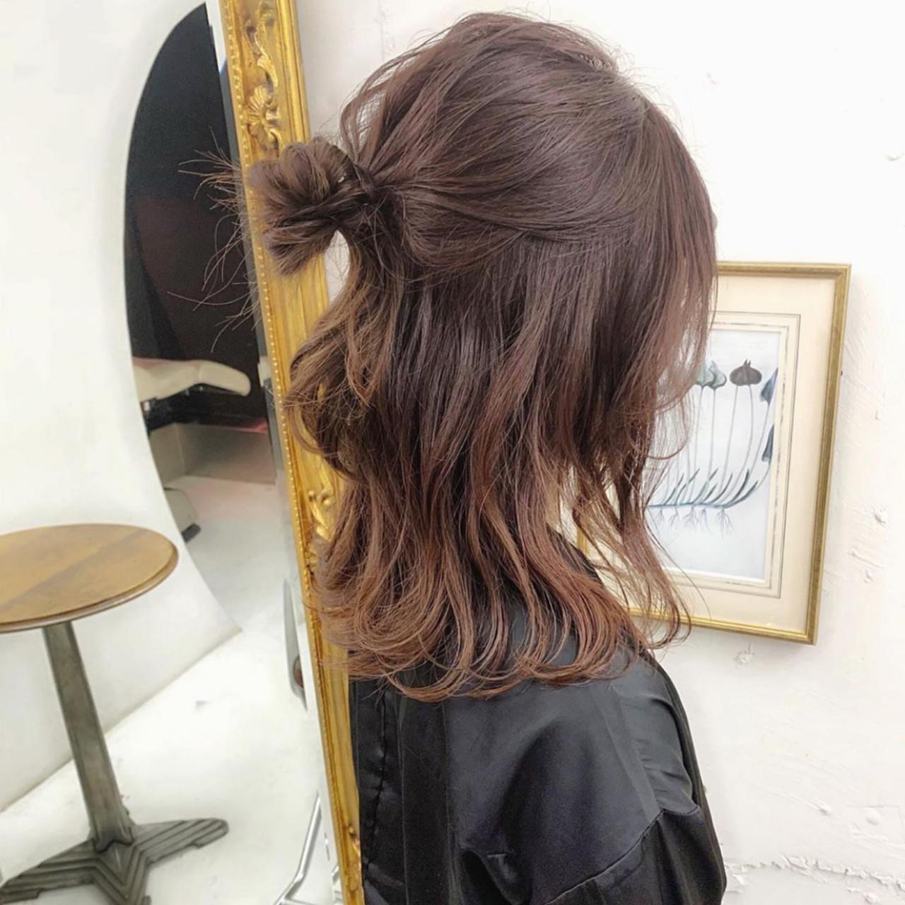 ハーフアップ ロング ナチュラル 簡単ヘアアレンジ ヘアスタイルや髪型の写真・画像