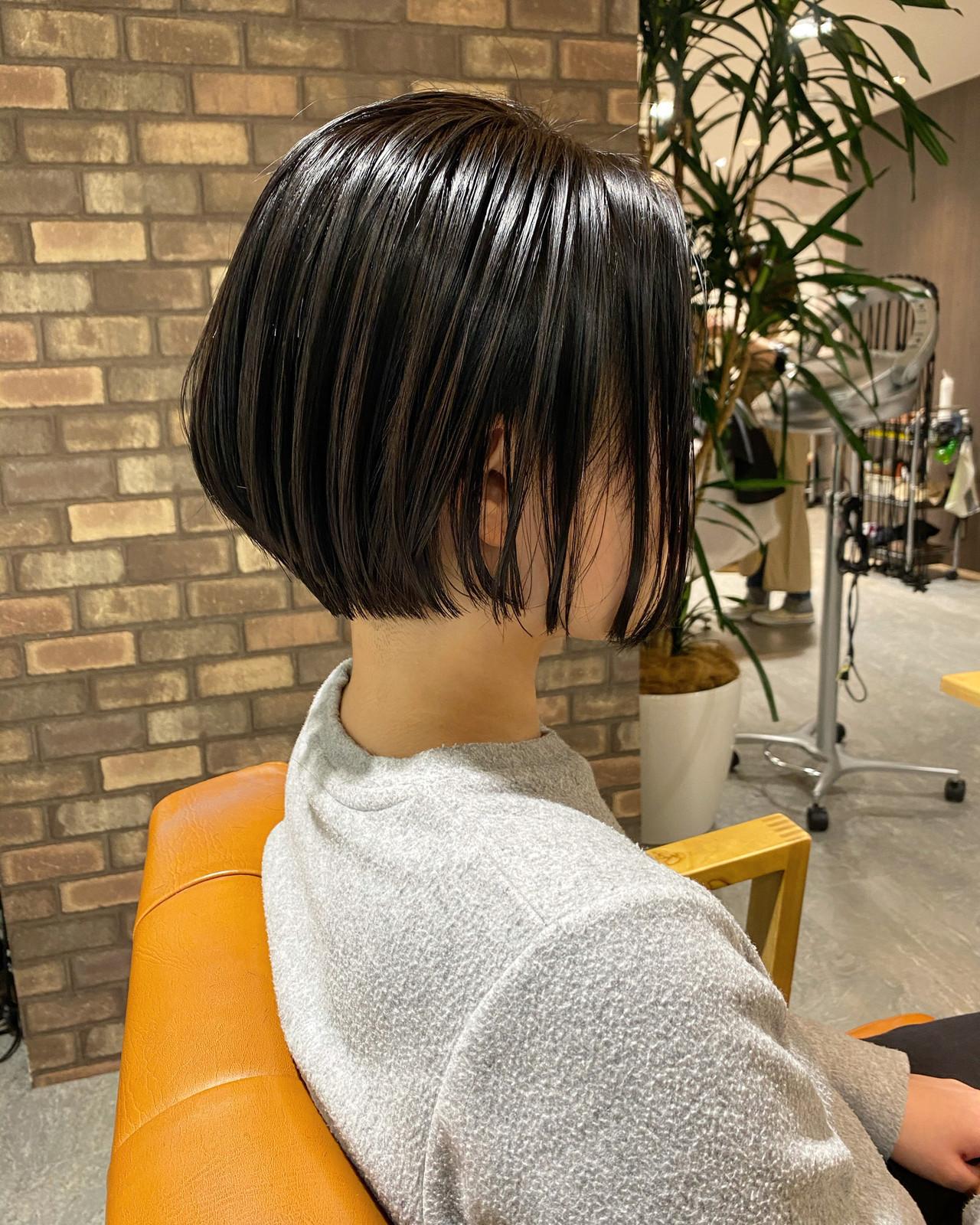ショートボブ ナチュラル ボブヘアー ショートヘア ヘアスタイルや髪型の写真・画像