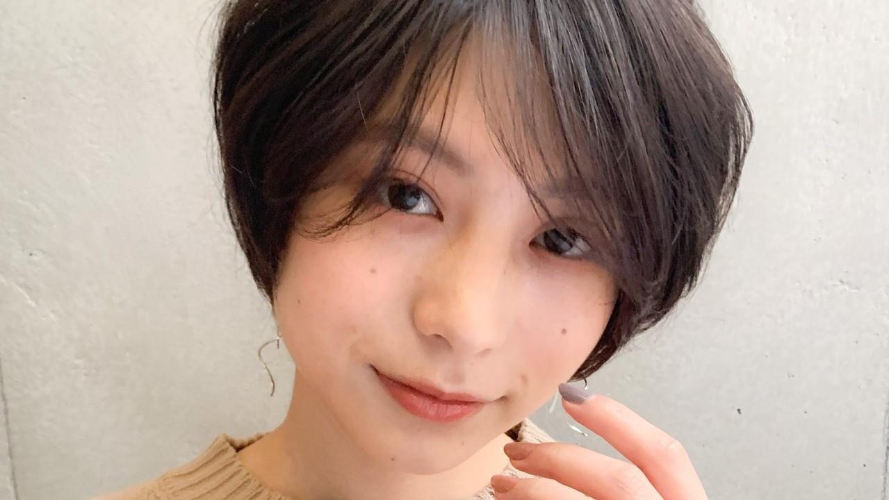 <丸顔さん専用>黒髪派のための愛されショートヘアスタイル♡