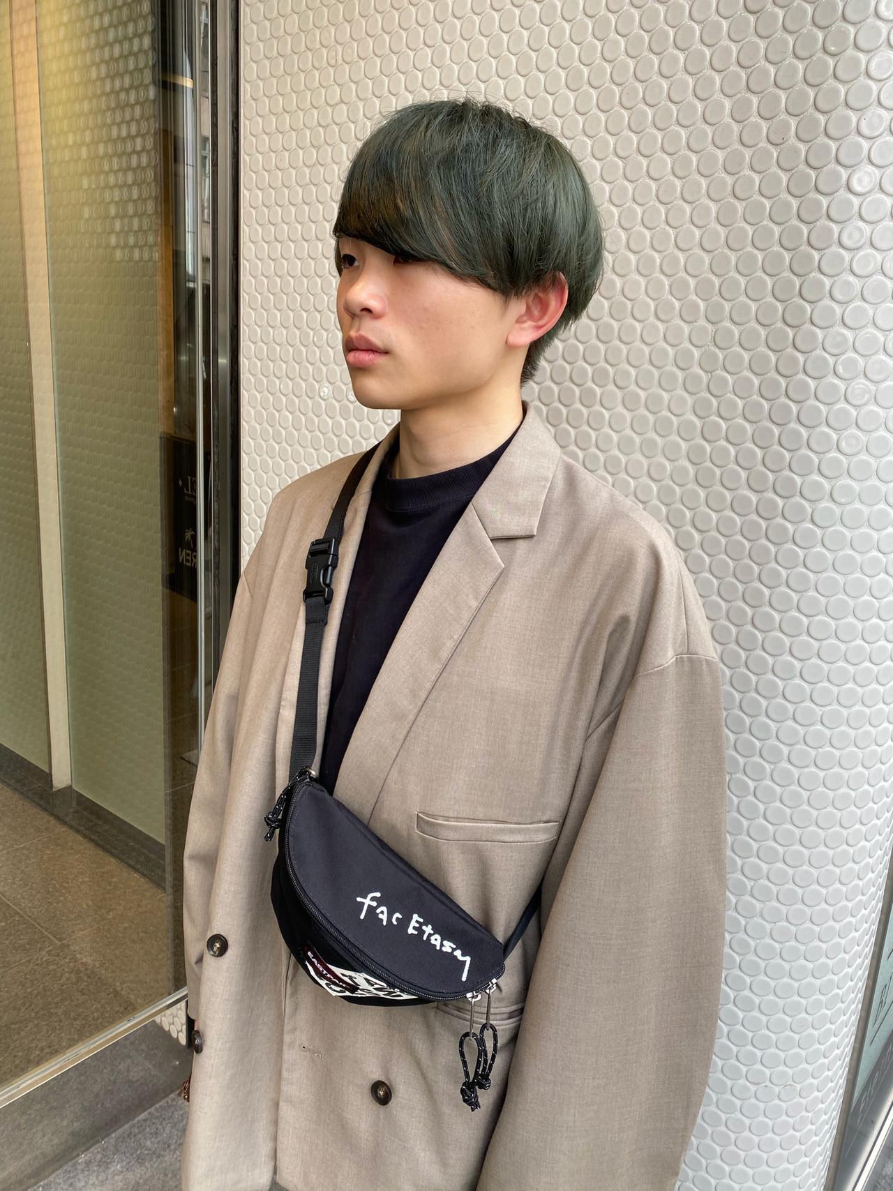 カーキアッシュ メンズカット メンズカラー ストリート ヘアスタイルや髪型の写真・画像