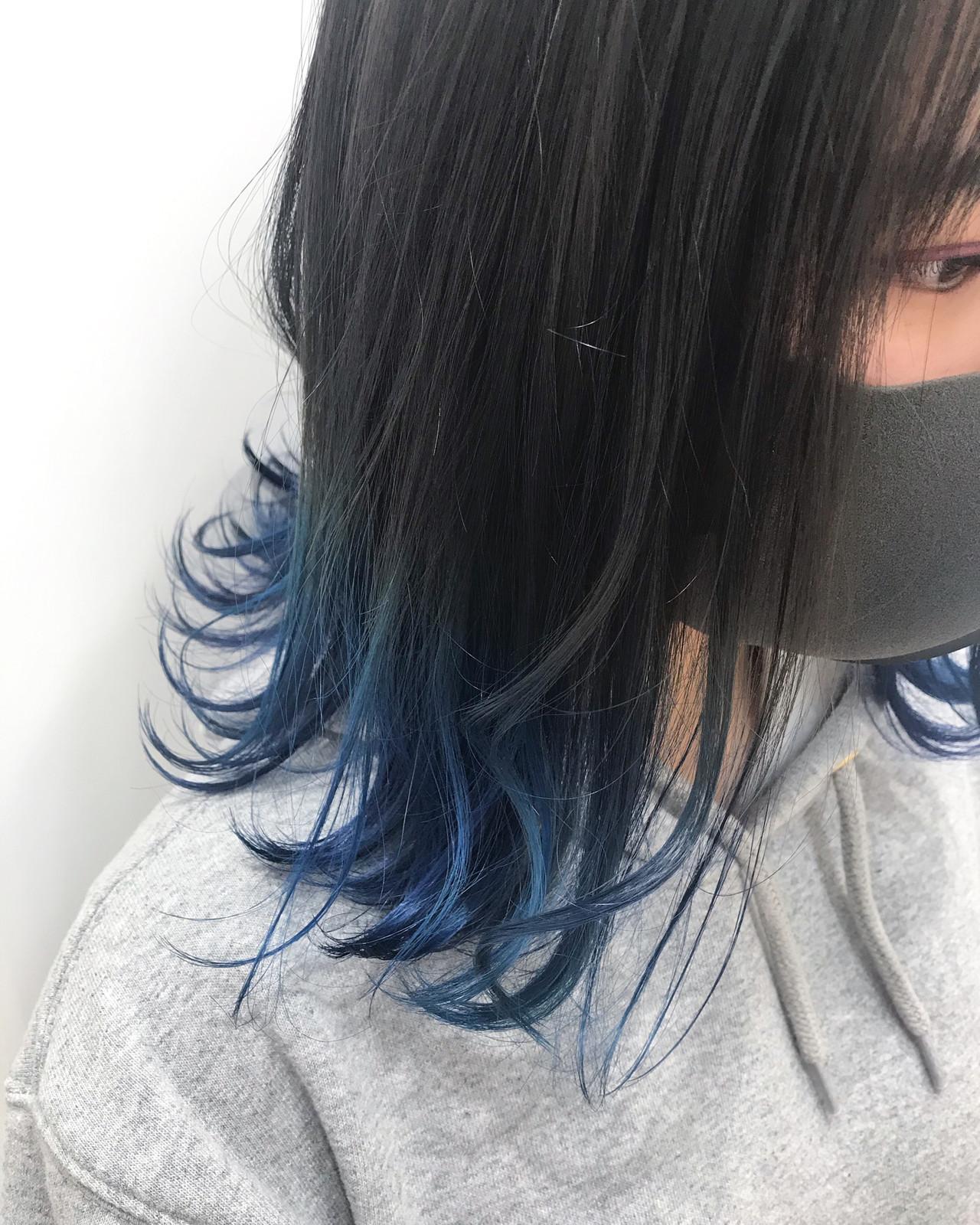 ブルーブラック ブルージュ ブルー ネイビーブルー ヘアスタイルや髪型の写真・画像