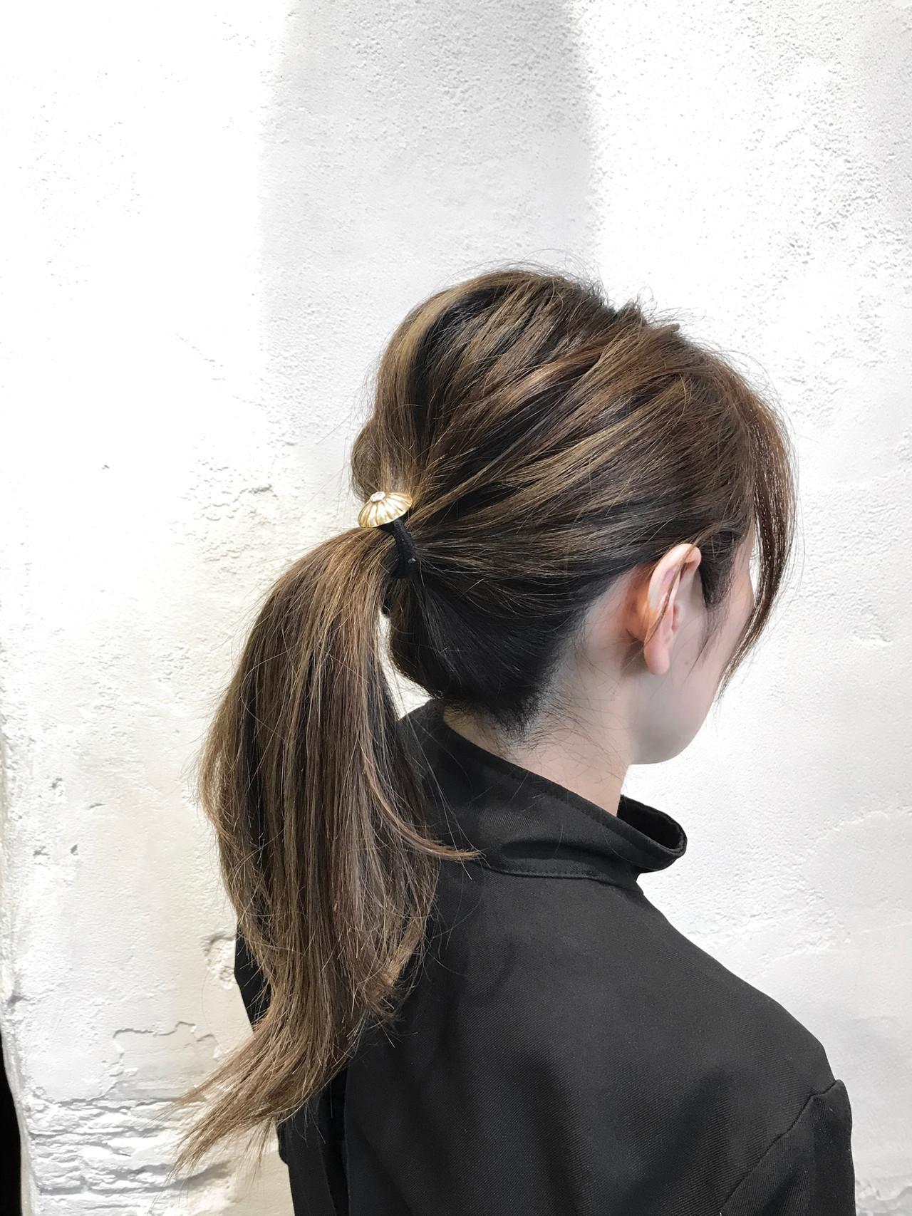 3Dハイライト ハイライト アッシュ ポニーテール ヘアスタイルや髪型の写真・画像