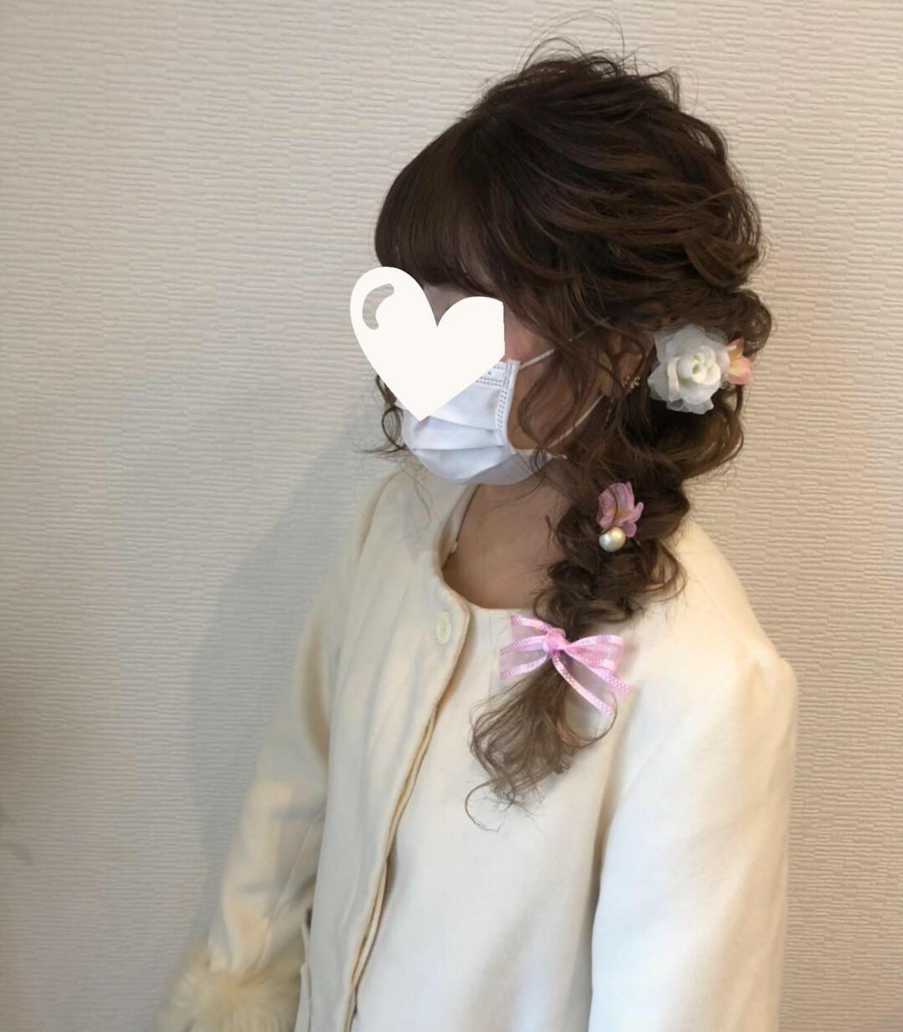 ロング ヘアアレンジ 編み込みヘア 成人式ヘア ヘアスタイルや髪型の写真・画像