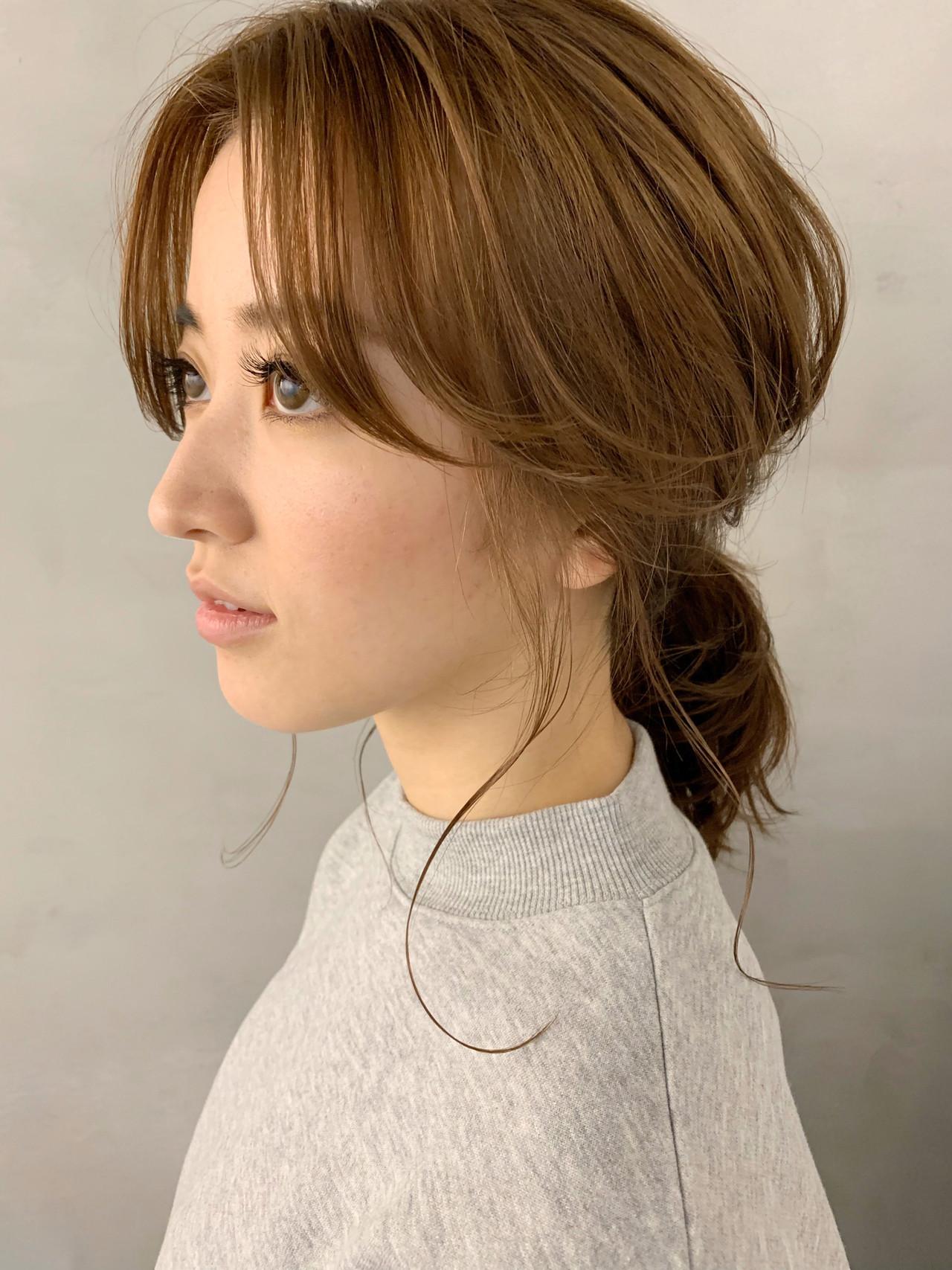 ポニーテール センター分け ヘアアレンジ 簡単ヘアアレンジ ヘアスタイルや髪型の写真・画像