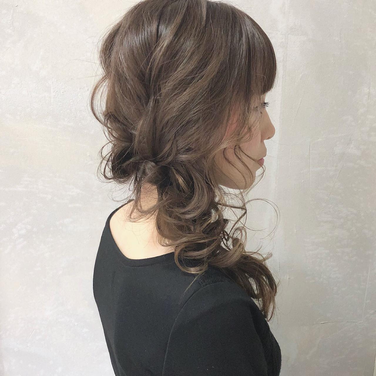 ロング デート ヘアアレンジ フェミニン ヘアスタイルや髪型の写真・画像