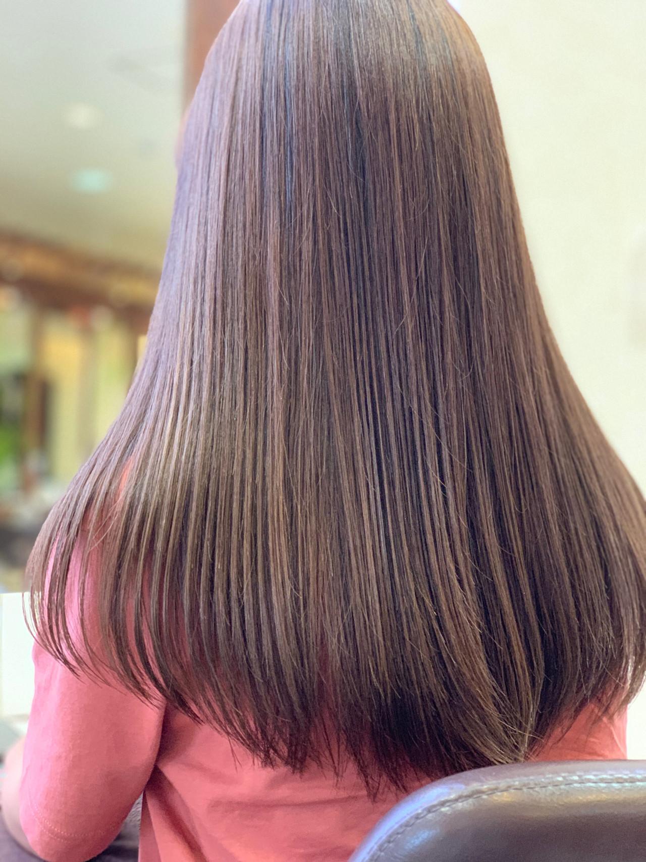 大人ハイライト ロング ブランジュ ローライト ヘアスタイルや髪型の写真・画像