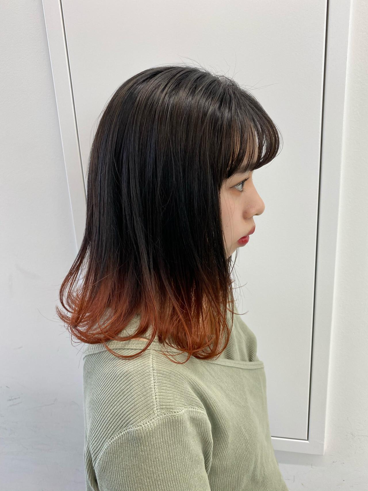モテ髪 オレンジカラー ミディアム 春 ヘアスタイルや髪型の写真・画像
