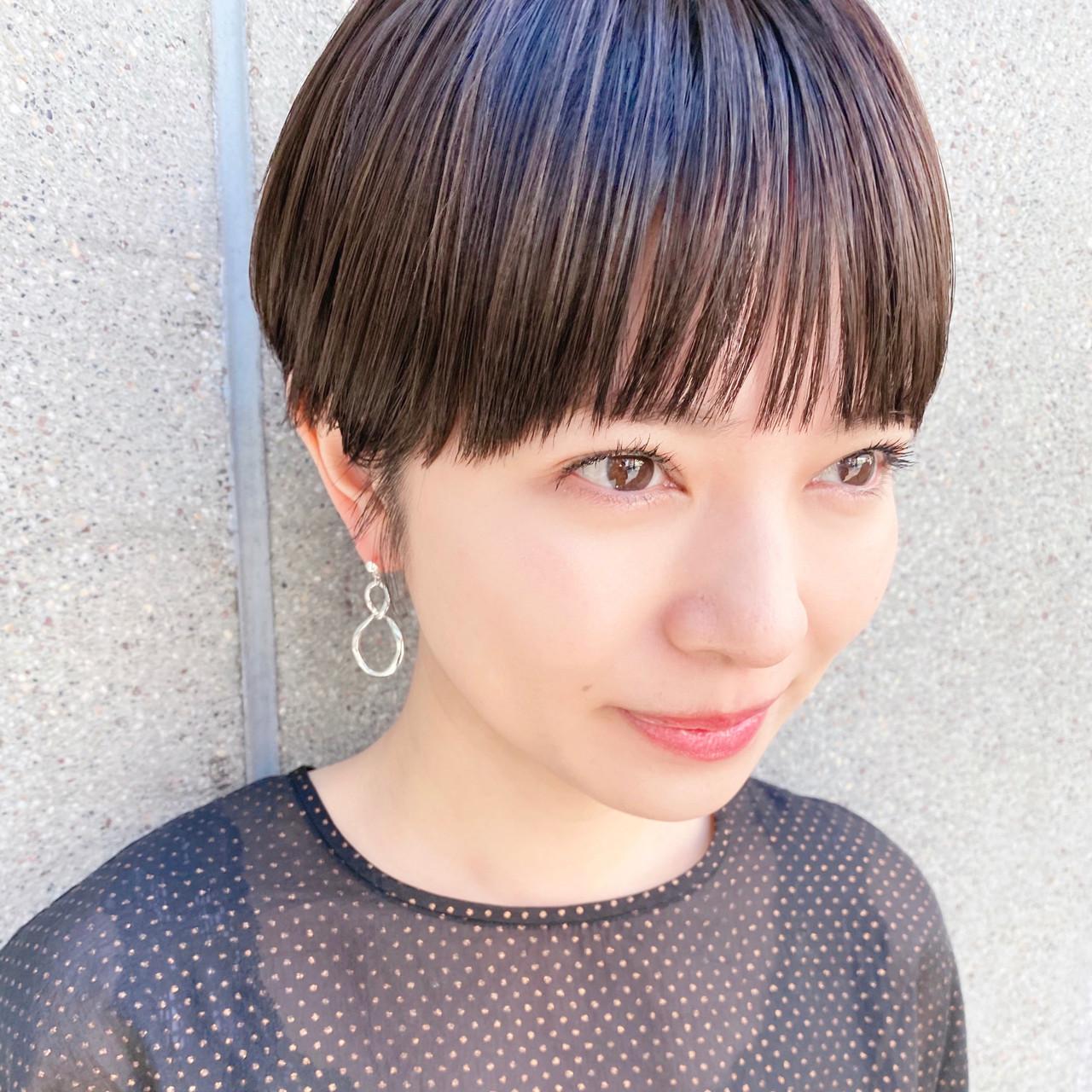 暗髪 ショートヘア ショートボブ ショート ヘアスタイルや髪型の写真・画像