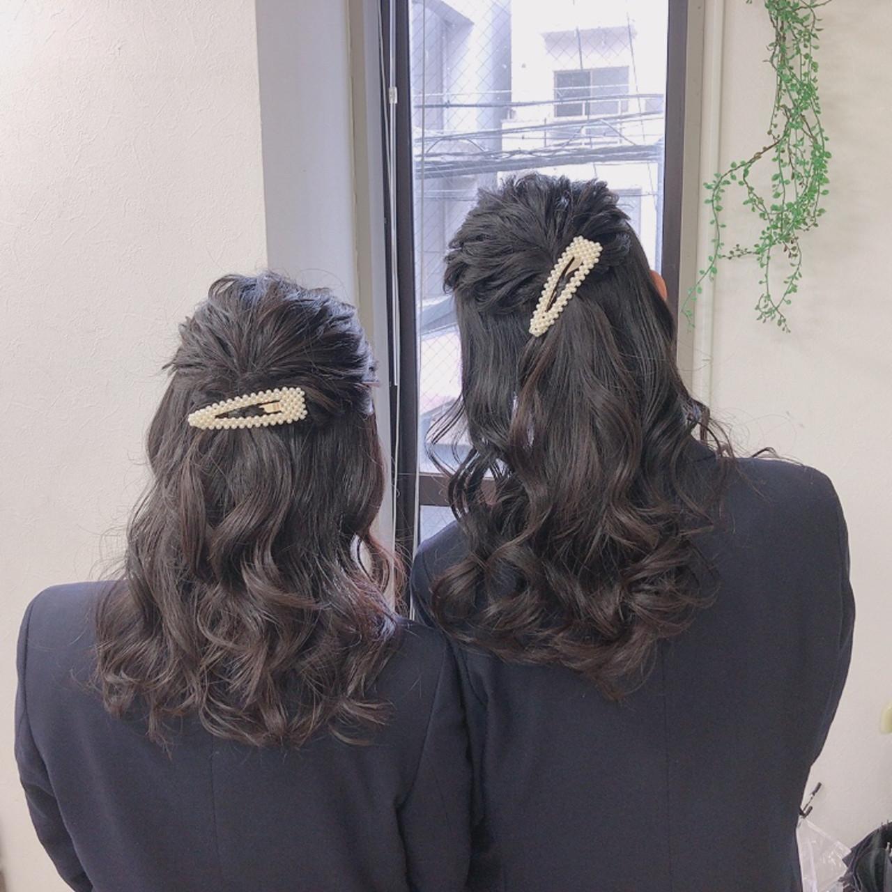 ゆるふわセット ヘアアレンジ ロング ハーフアップ ヘアスタイルや髪型の写真・画像