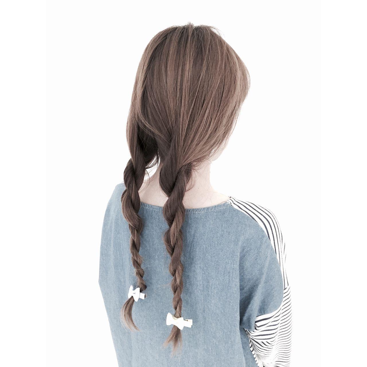 ストリート センターパート ツインテール ロープ編み ヘアスタイルや髪型の写真・画像
