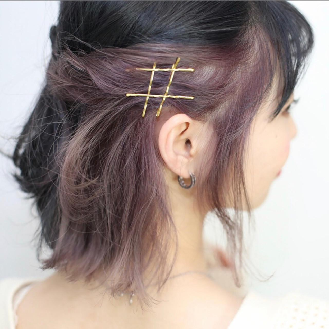 インナーカラー ボブ ヘアアレンジ ハーフアップ ヘアスタイルや髪型の写真・画像