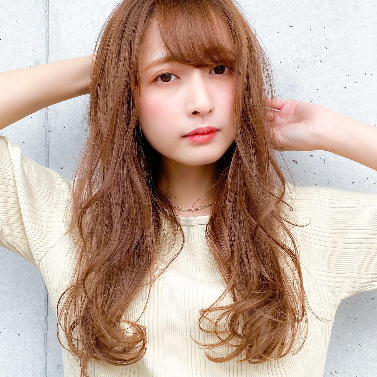 小顔 レイヤーカット デジタルパーマ ロング ヘアスタイルや髪型の写真・画像