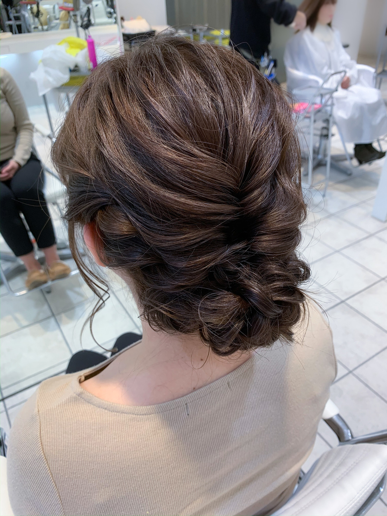 結婚式ヘアアレンジ 大人ヘアスタイル 編み込み セミロング ヘアスタイルや髪型の写真・画像