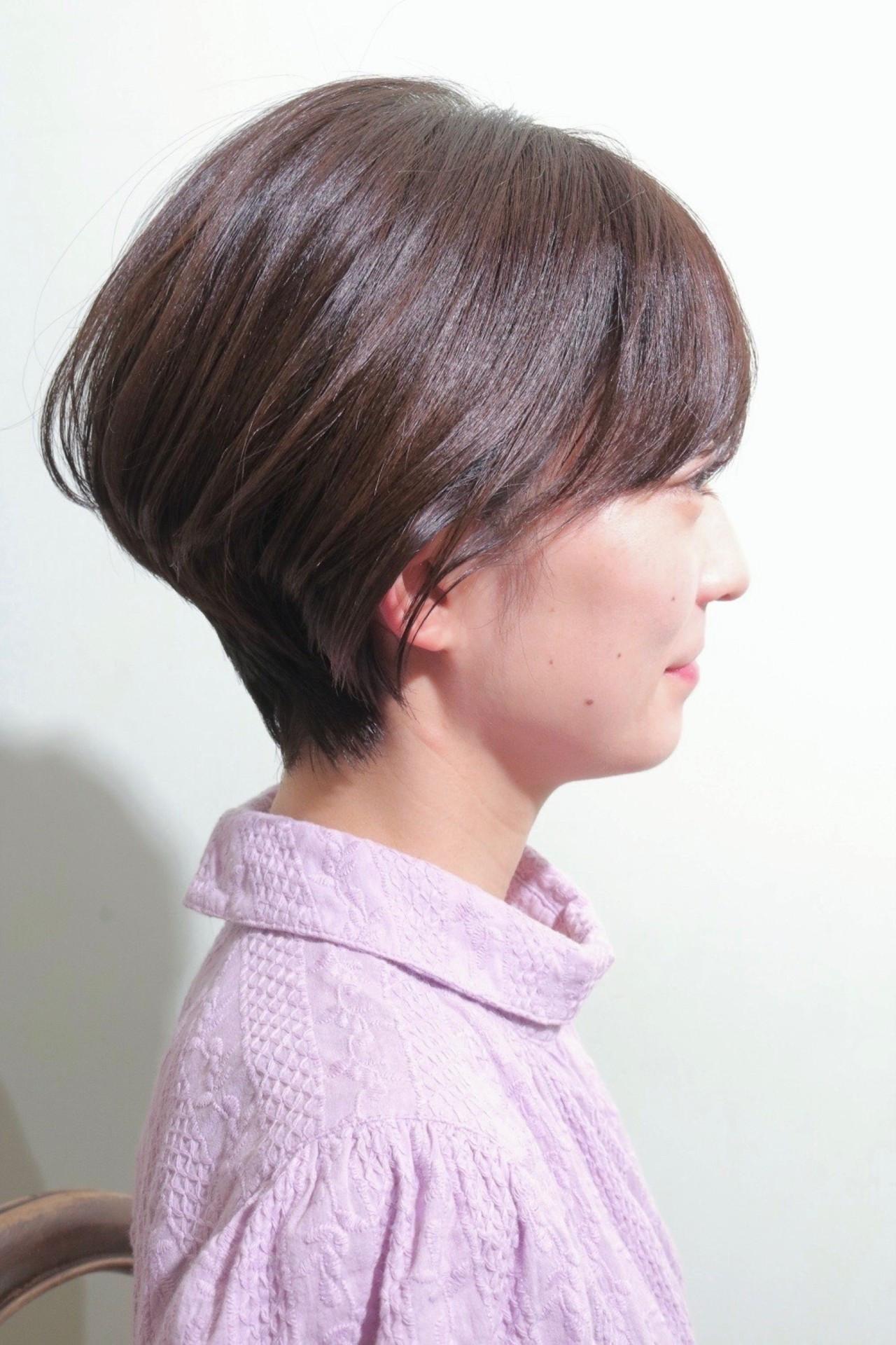 ショート モテ髪 オフィス ナチュラル ヘアスタイルや髪型の写真・画像