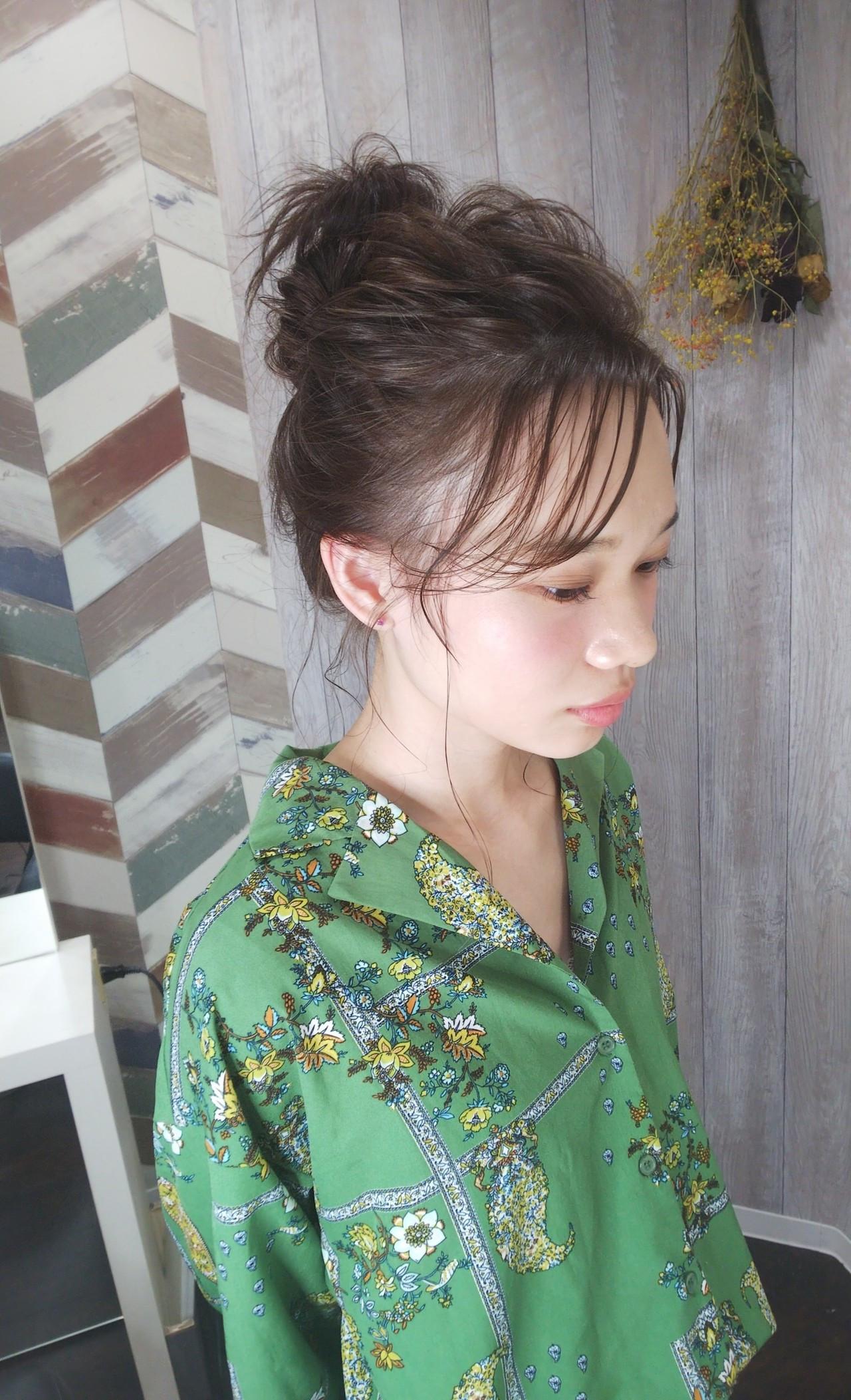 ふわふわ お祭り ガーリー お団子 ヘアスタイルや髪型の写真・画像