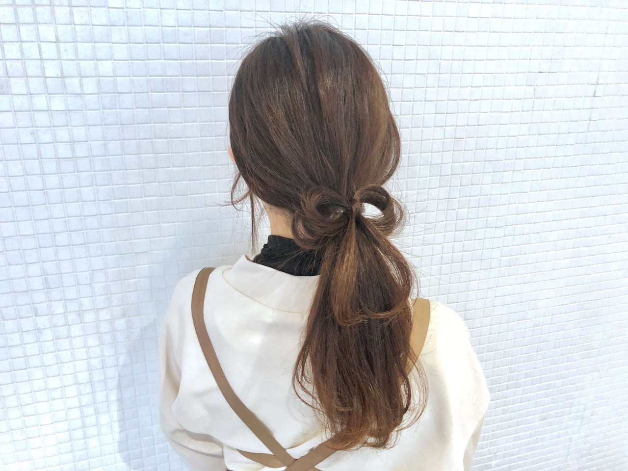 ロング リボンアレンジ 簡単ヘアアレンジ ヘアアレンジ ヘアスタイルや髪型の写真・画像