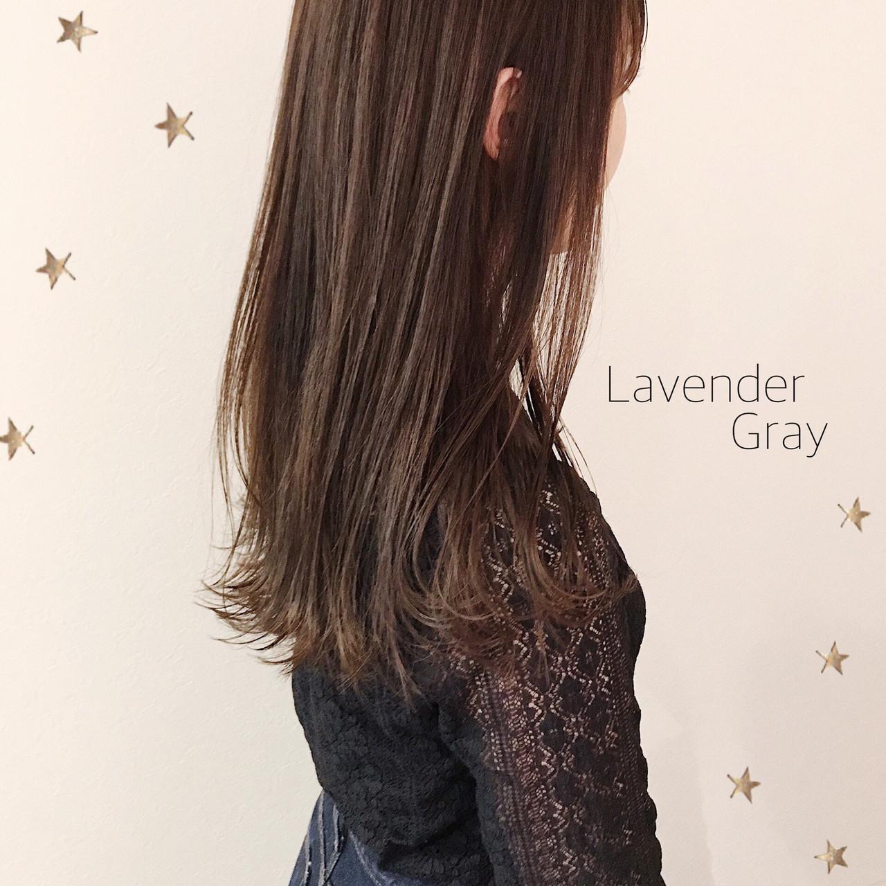 大人可愛い 大人女子 ラベンダーグレー ナチュラル ヘアスタイルや髪型の写真・画像
