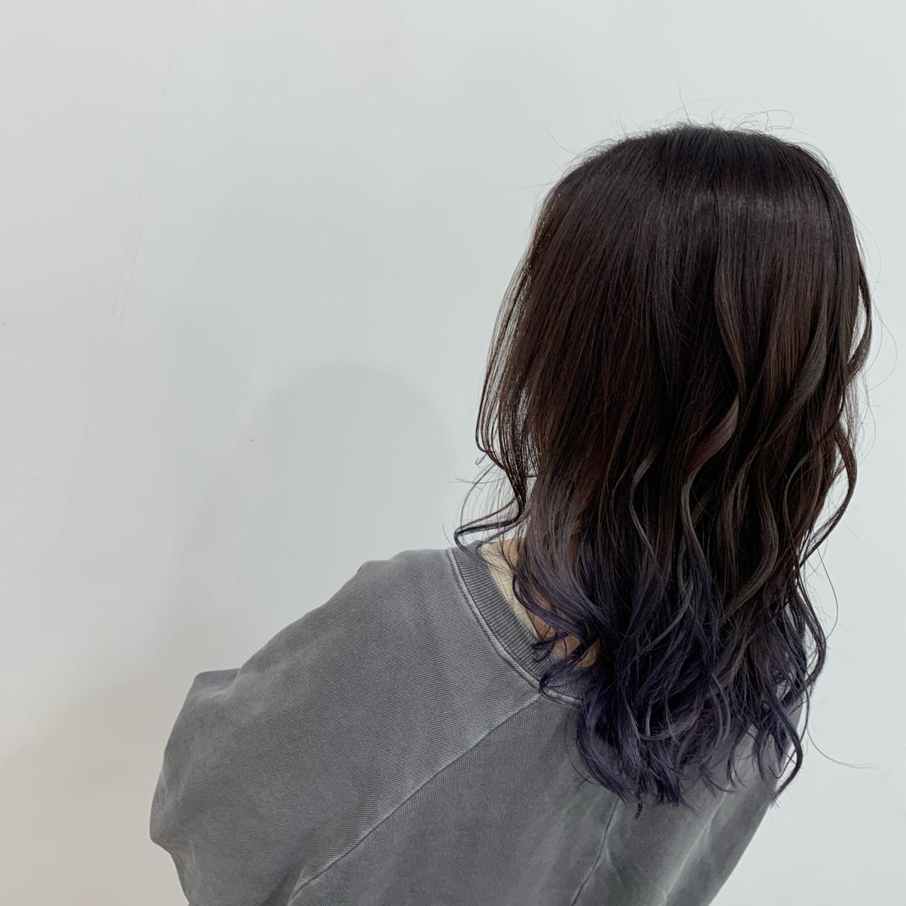 N.オイル ブルーラベンダー グラデーションカラー ブリーチ ヘアスタイルや髪型の写真・画像