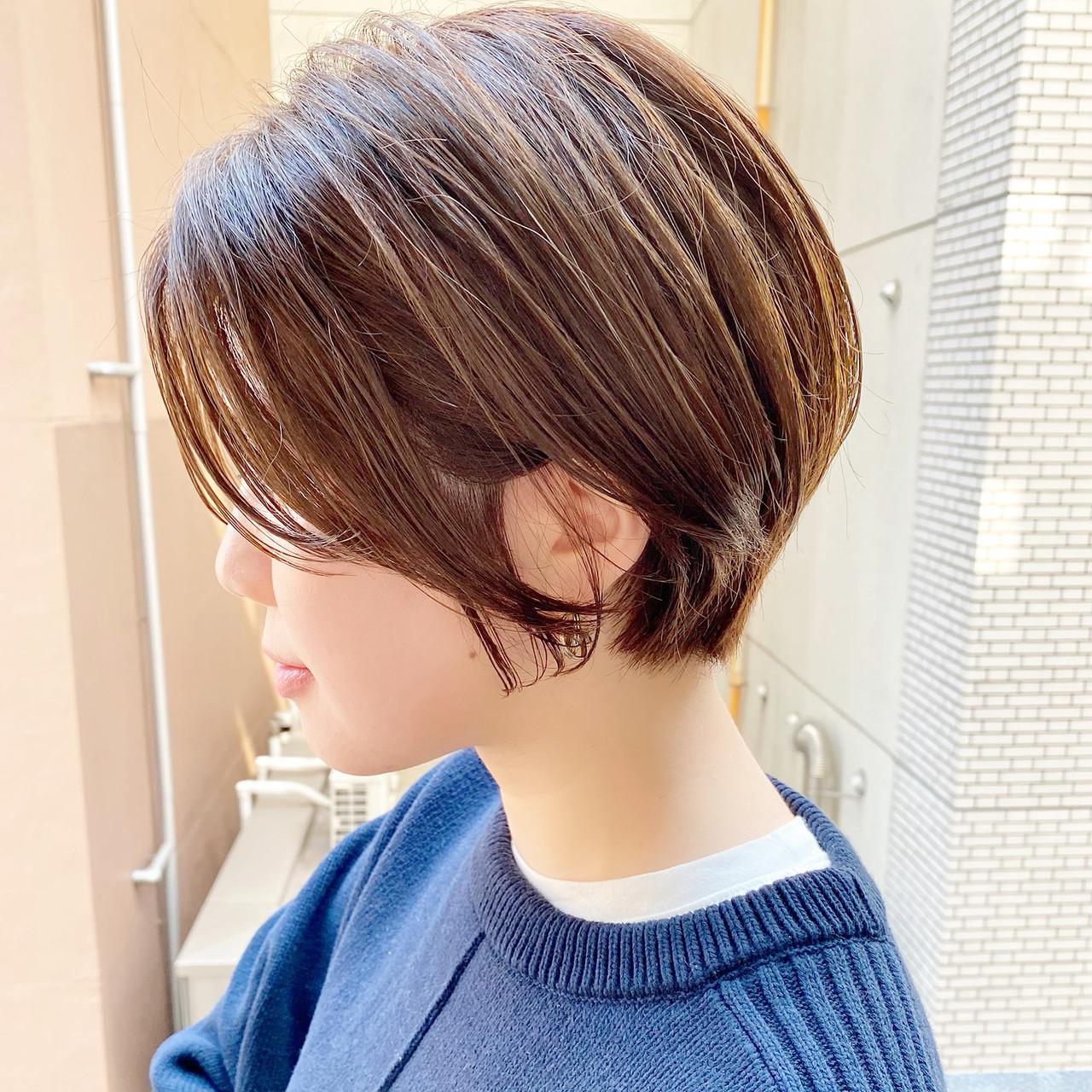 デート ナチュラル ベリーショート ショートボブ ヘアスタイルや髪型の写真・画像