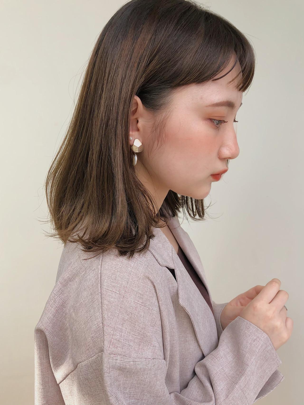 大人ミディアム ロブ フェミニン 鎖骨ミディアム ヘアスタイルや髪型の写真・画像