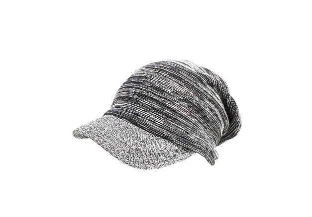 &RICH 選べる大きさ つば付き ニット帽 ブラック/ホワイト
