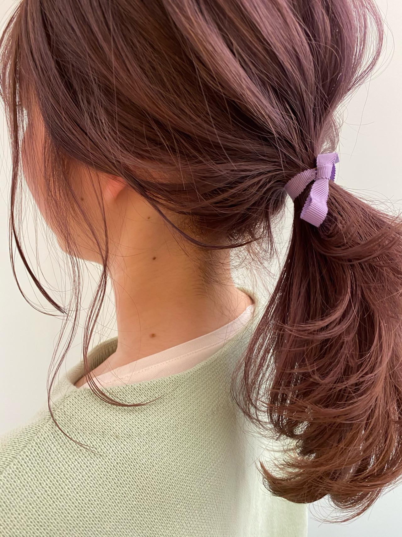 ナチュラル 透明感カラー ピンクラベンダー ヘアアレンジ ヘアスタイルや髪型の写真・画像