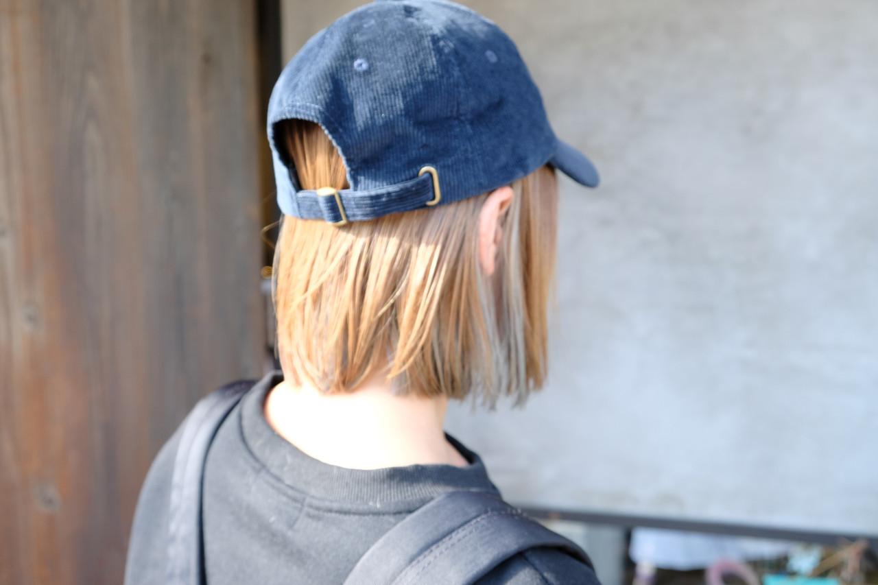 ストリート インナーカラー ボブ キャップ ヘアスタイルや髪型の写真・画像