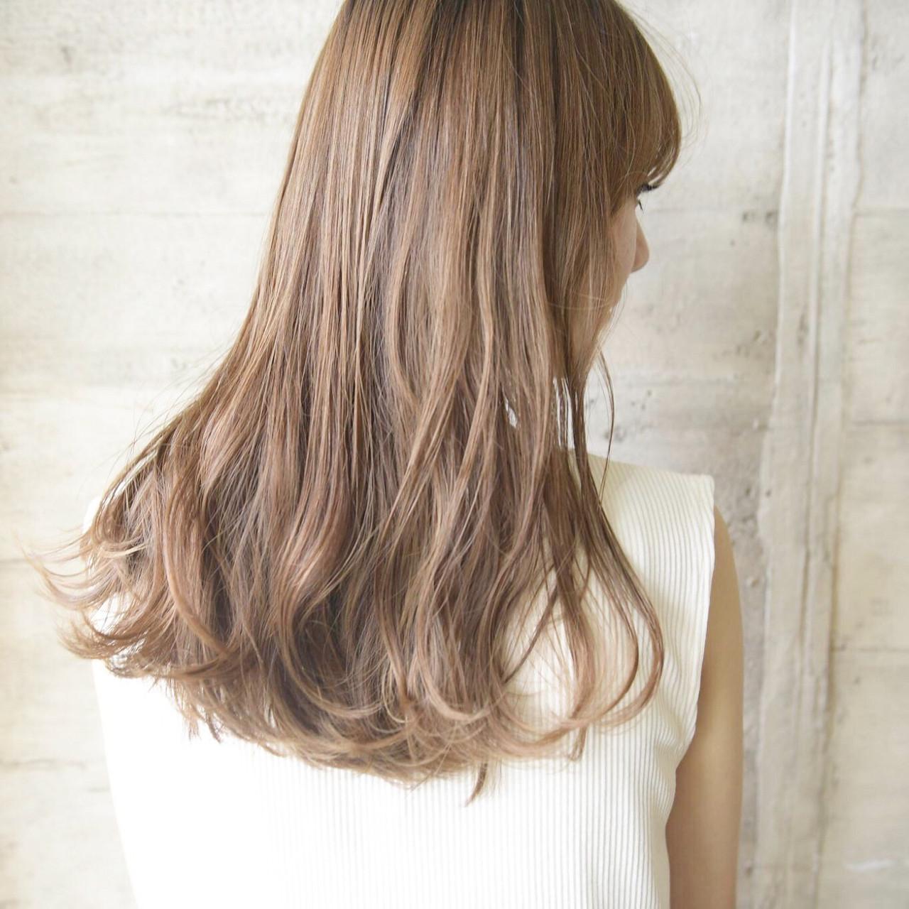束感バング ゆるウェーブ 波巻き セミロング ヘアスタイルや髪型の写真・画像